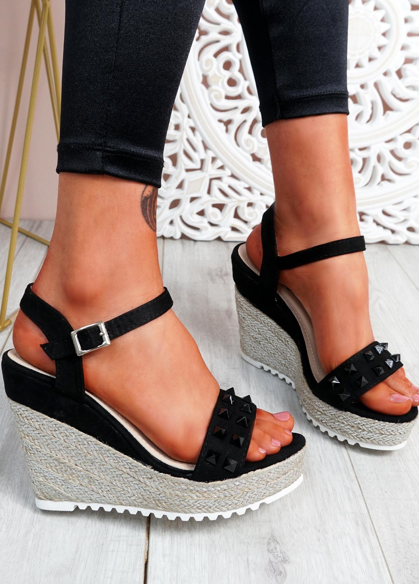 Anny Black Rock Studs Wedge Sandals