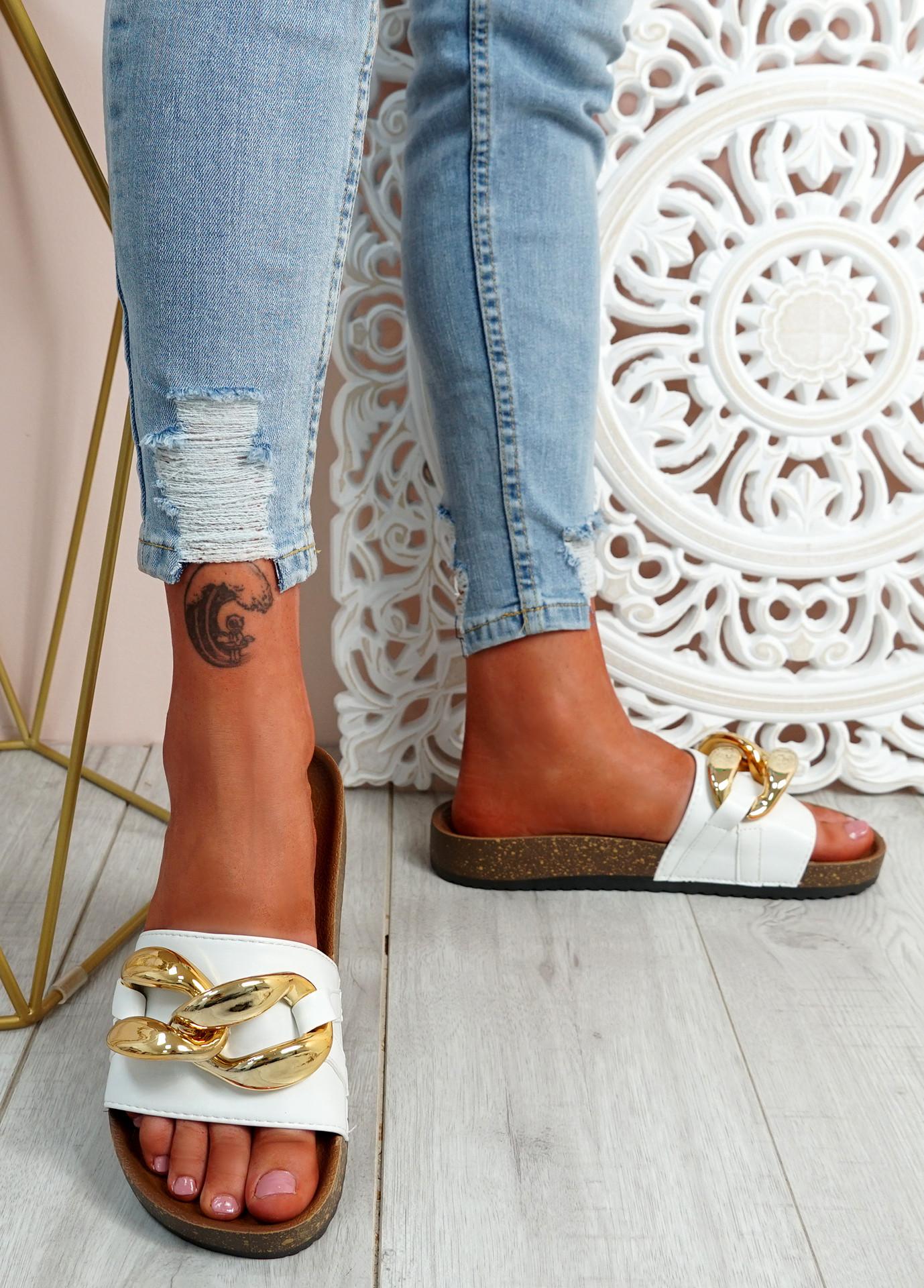 Ryo White Flat Sandals