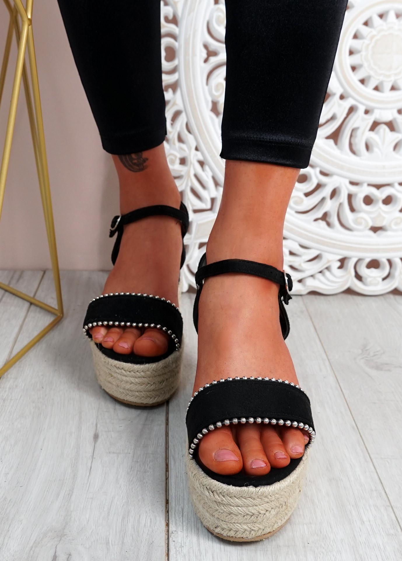 Lavy Black Suede Wedge Platform Sandals