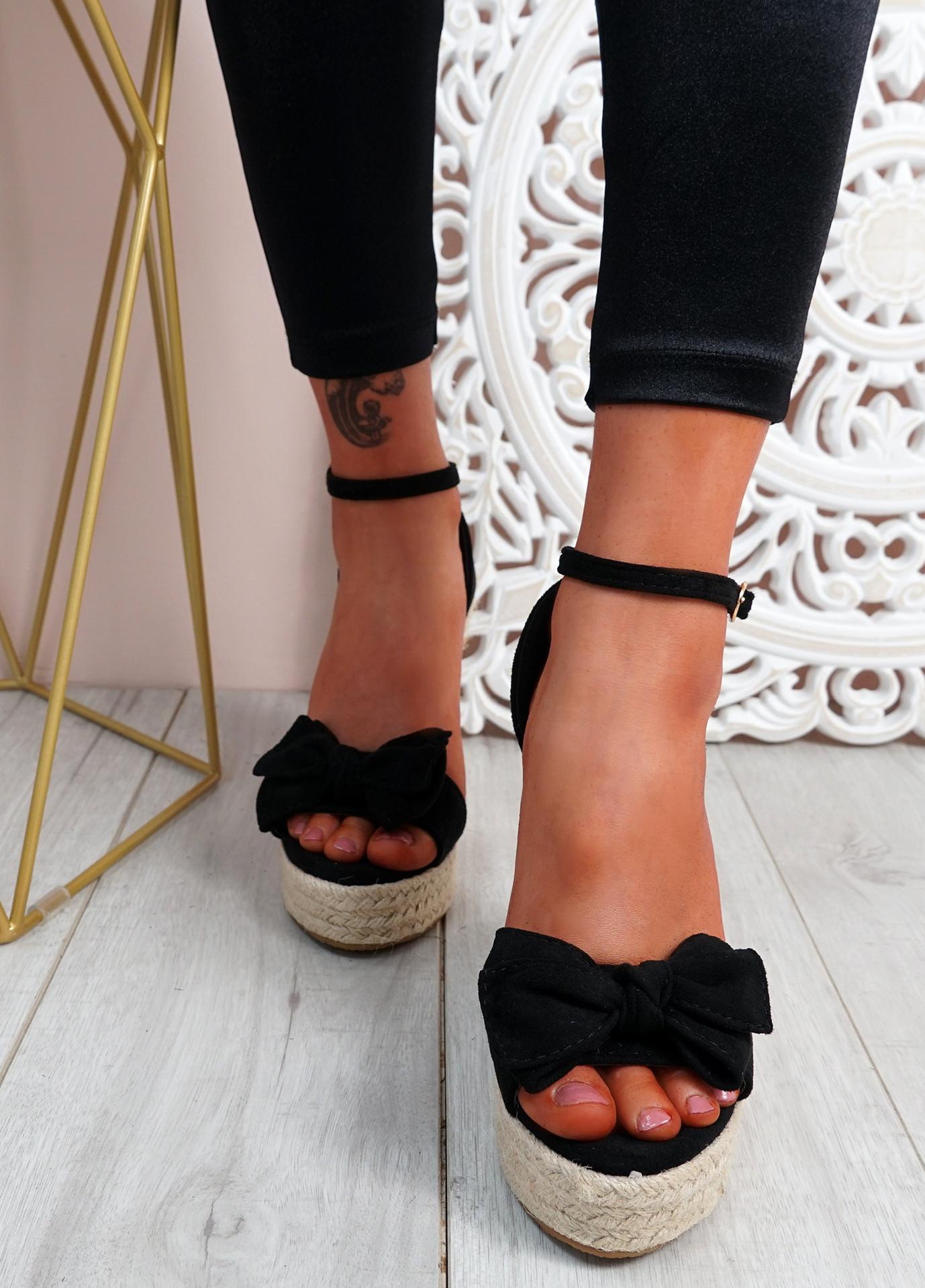 Norro Black High Heel Wedge Sandals