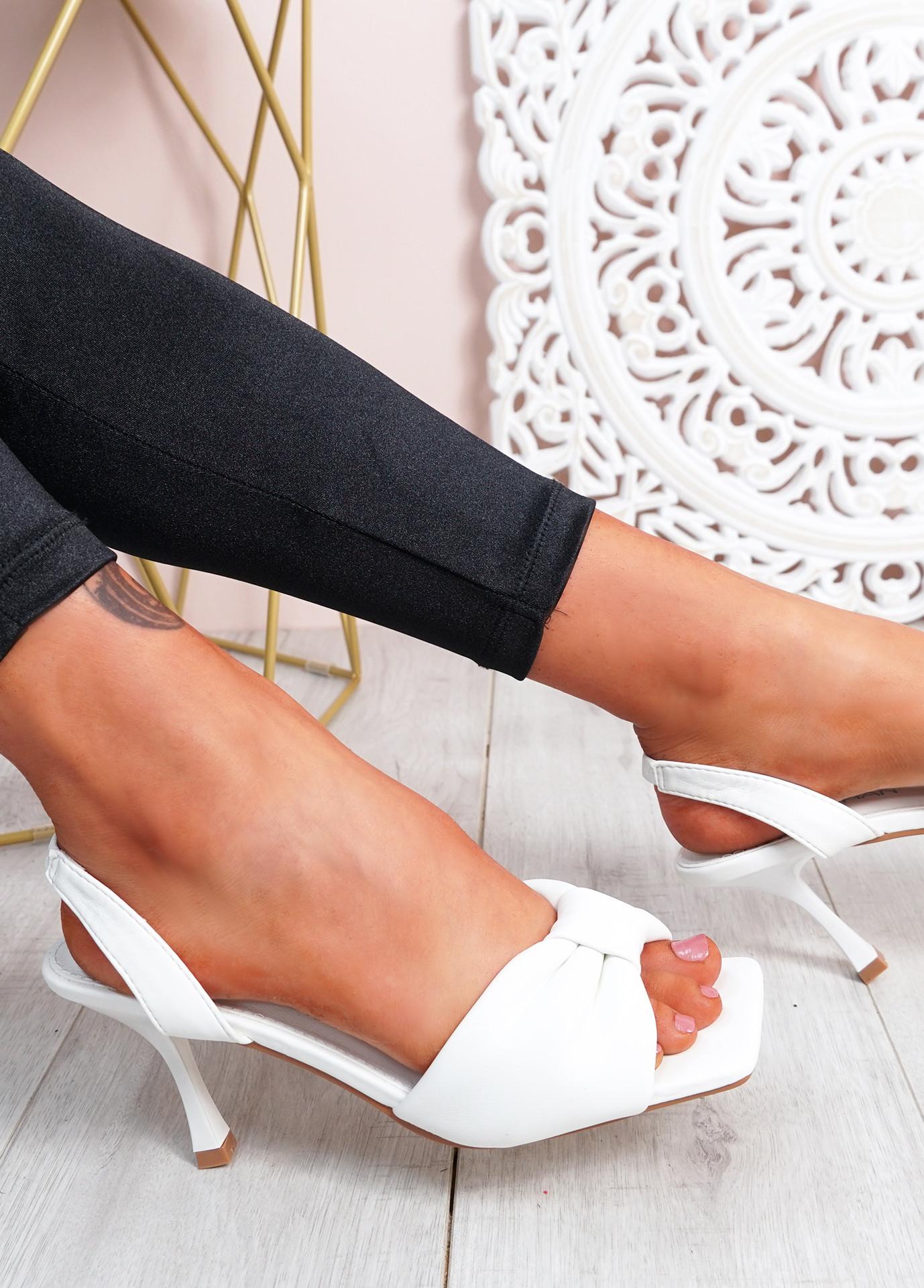 Sandy White Bow Stiletto Sandals