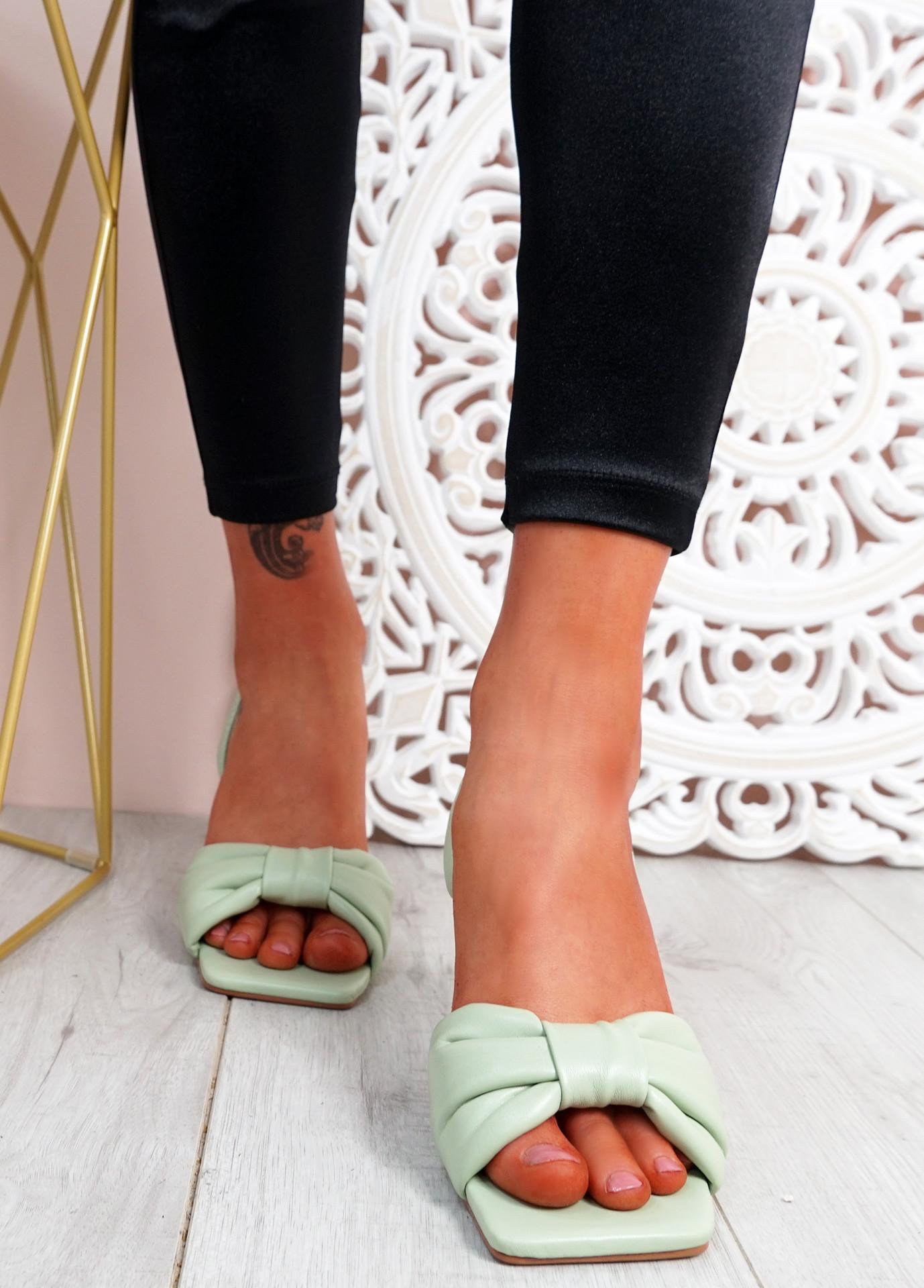 Sandy Green Bow Stiletto Sandals