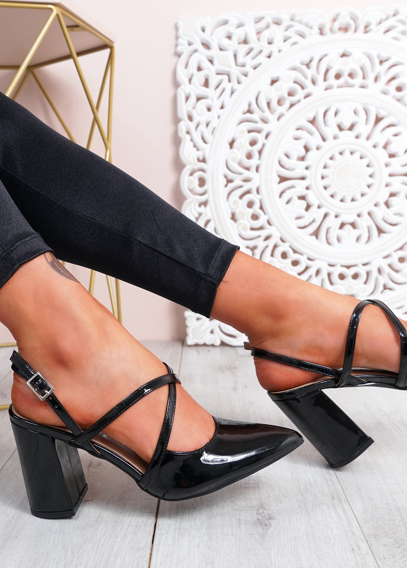 Sorre Black Pu Block Heel Pumps