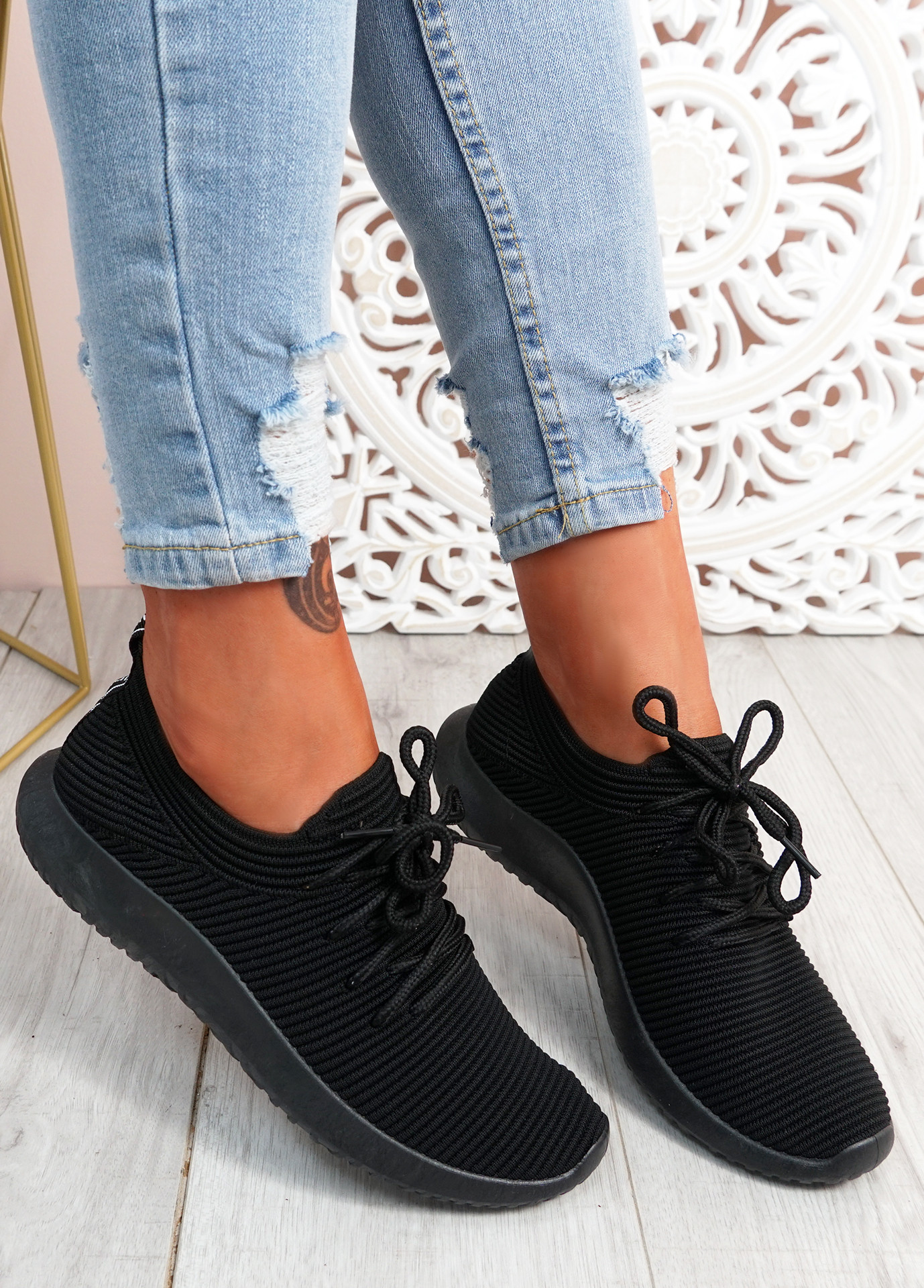 Ossy All Black Knit Sport Trainers
