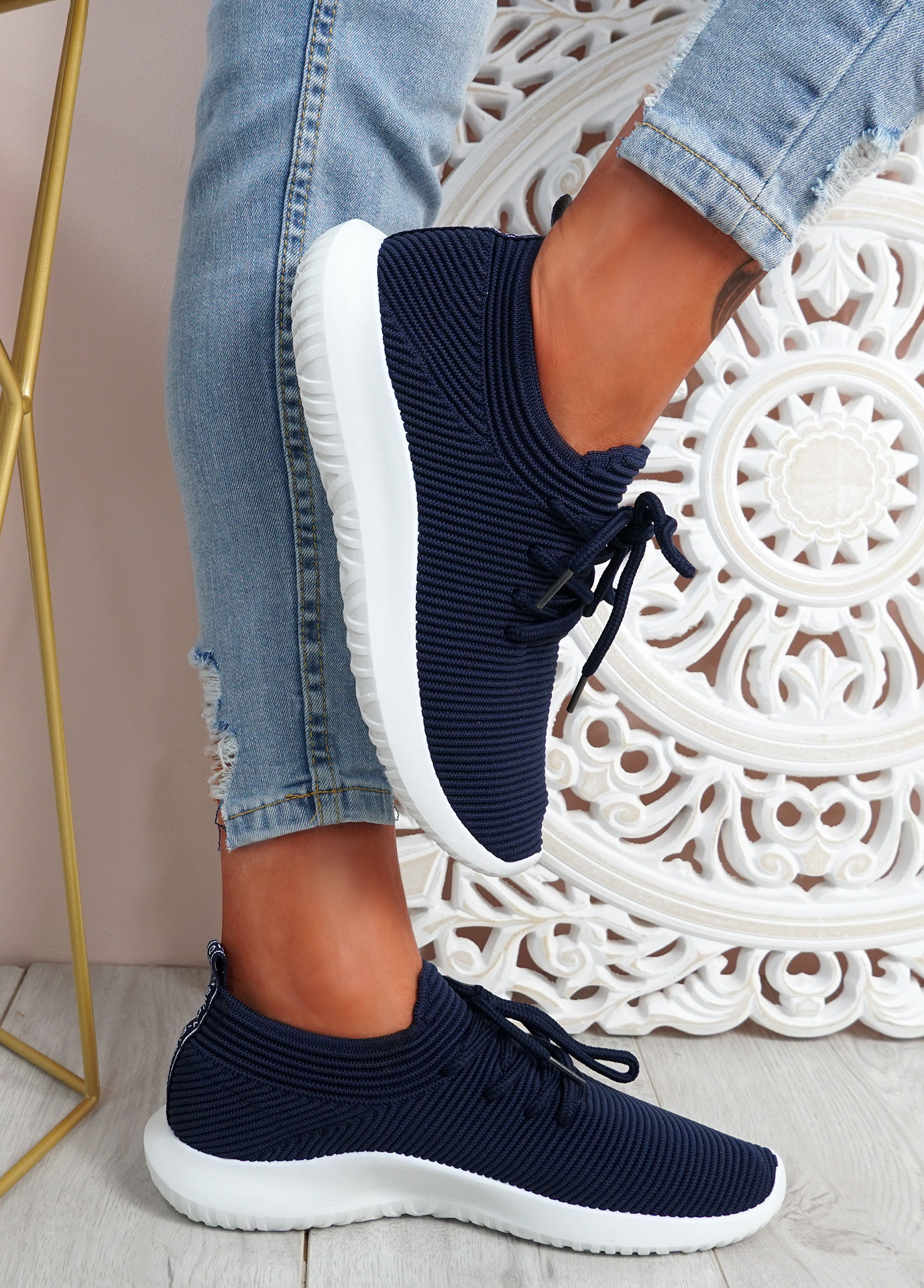 Ossy Navy Knit Sport Trainers