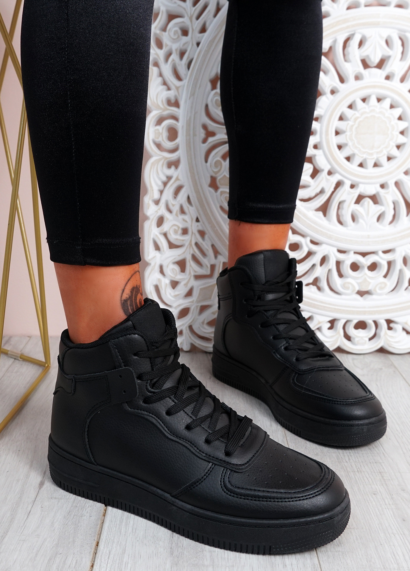 Magge All Black High Top Trainers