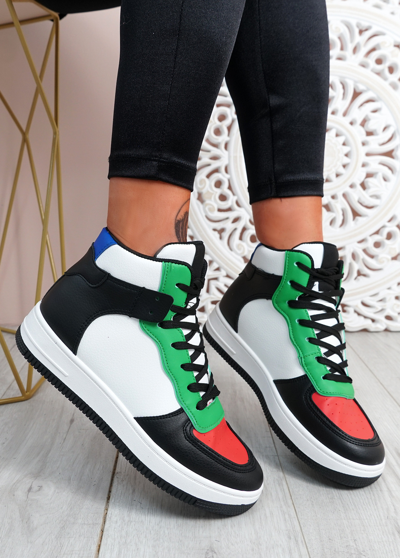 Magge Black Red High Top Trainers