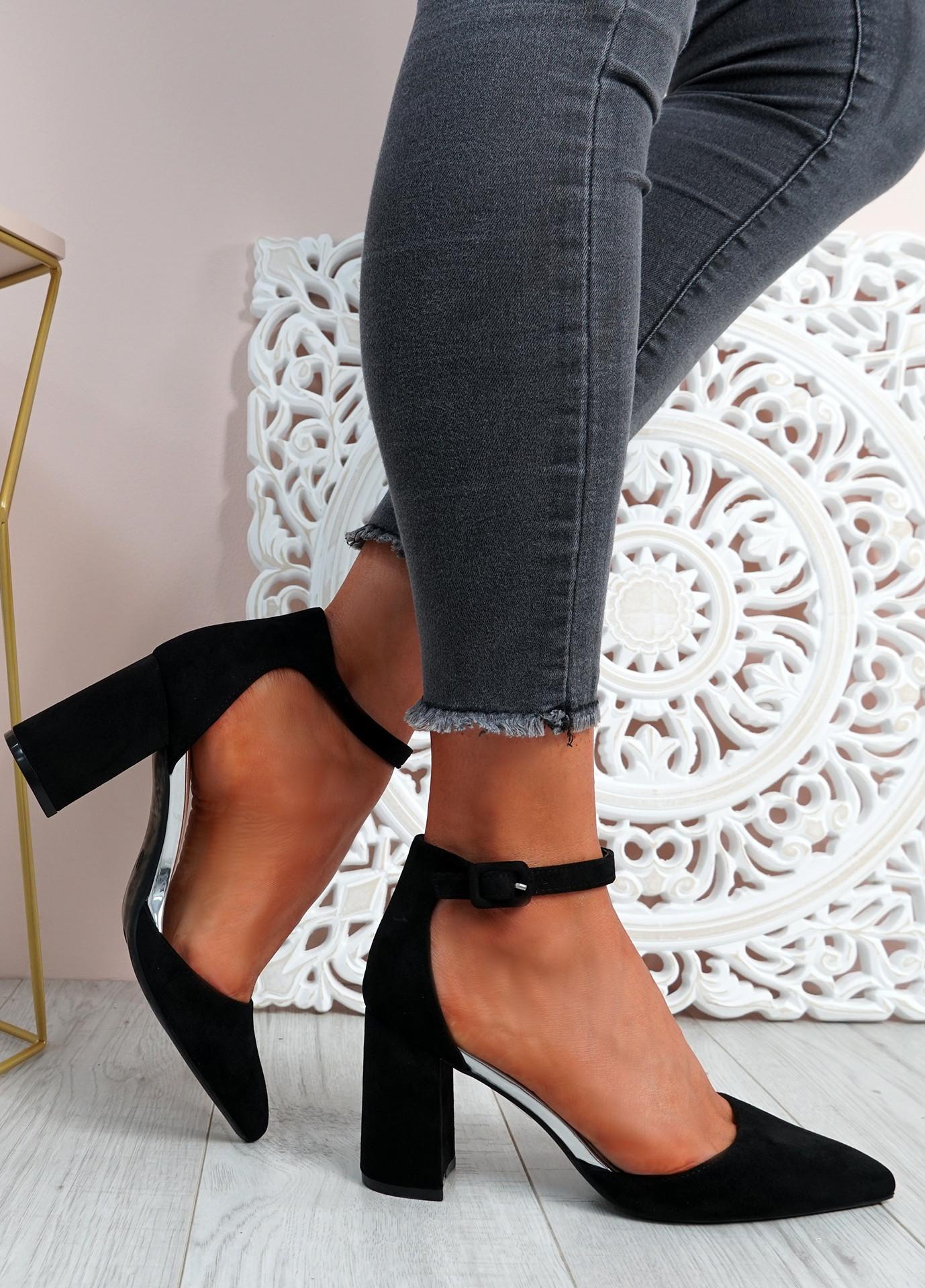 Malla Black Block Heel Pumps