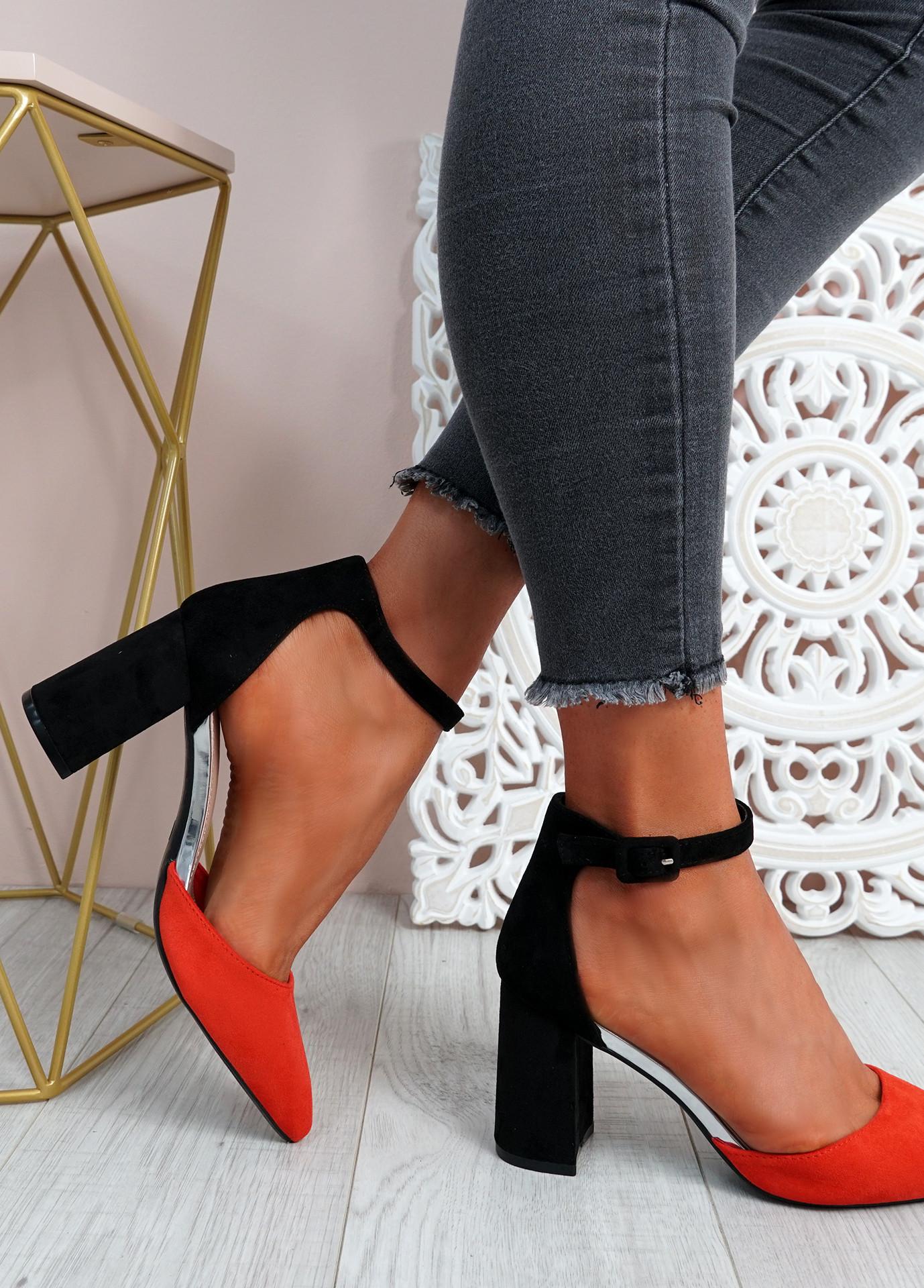Malla Orange Block Heel Pumps