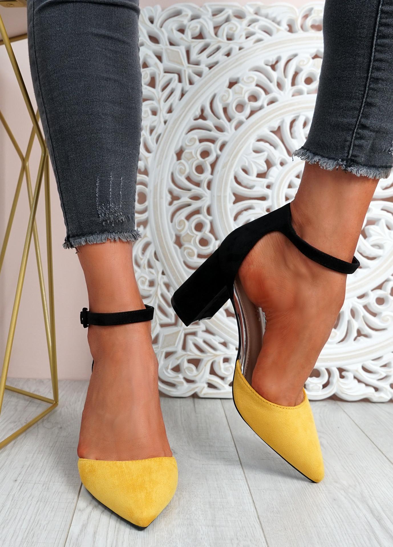 Malla Yellow Block Heel Pumps