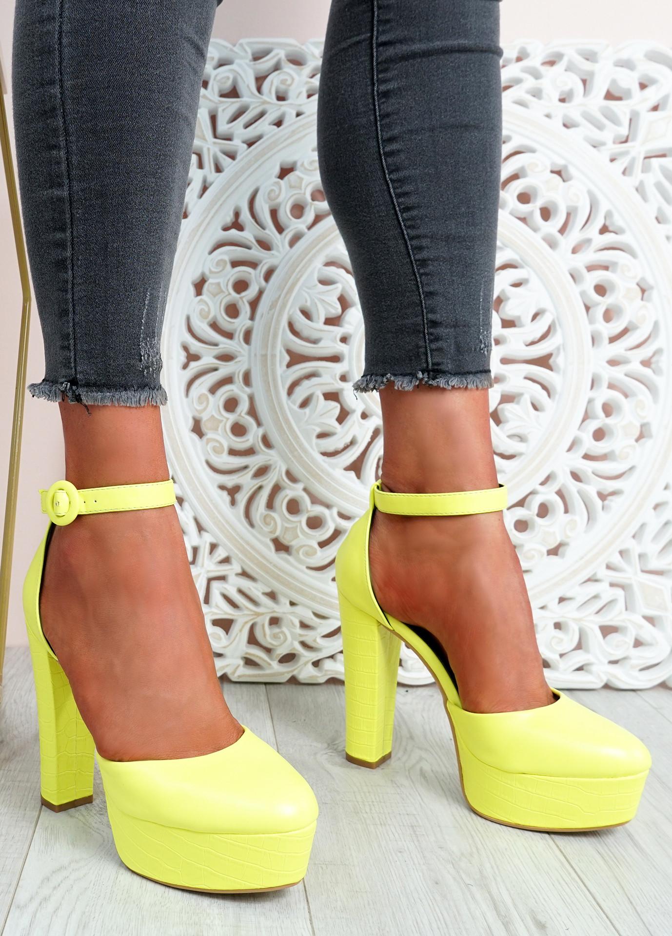Mizza Yellow High Block Heel Pumps