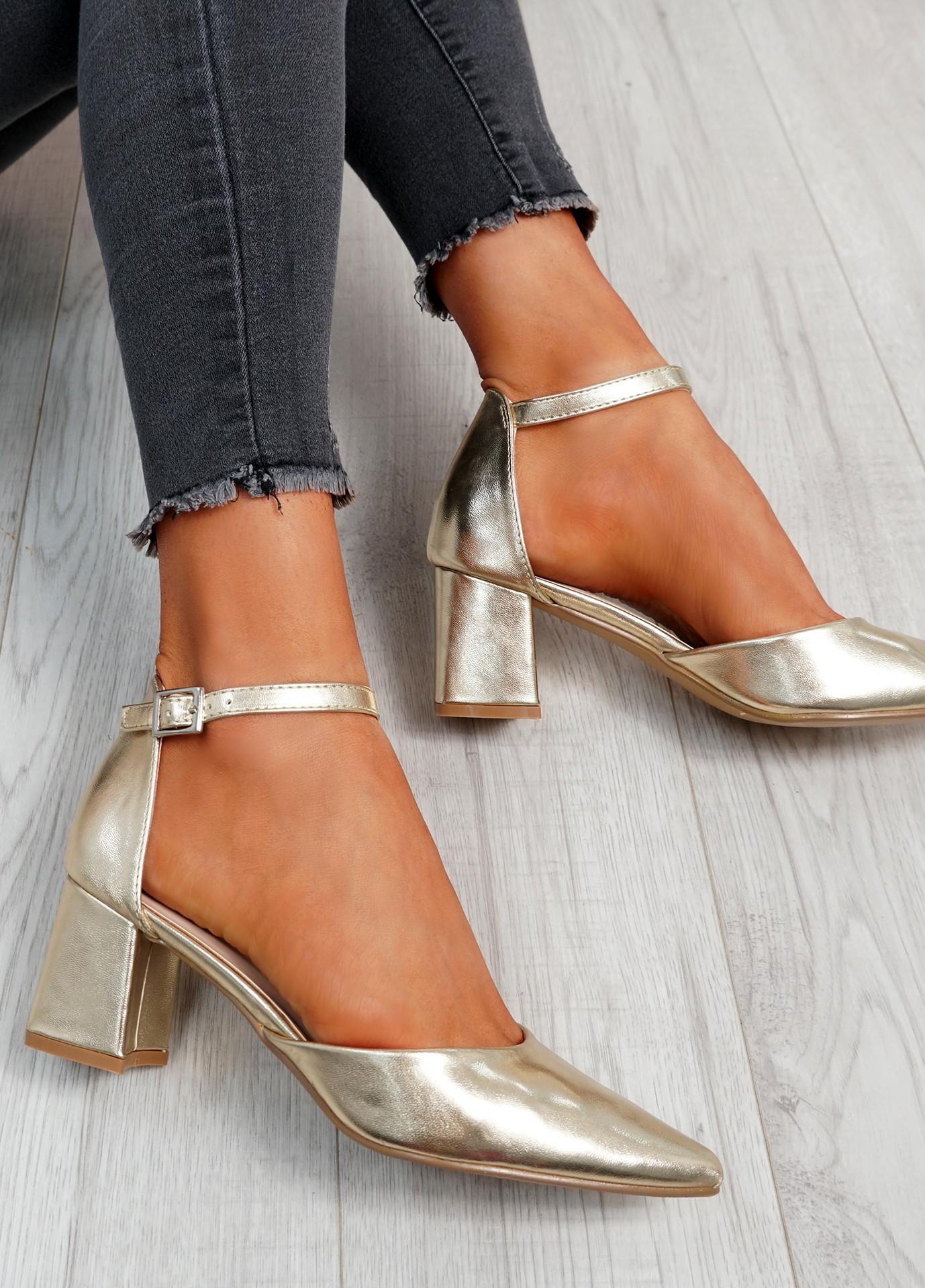 Mya Gold Block Heel Ankle Strap Pumps