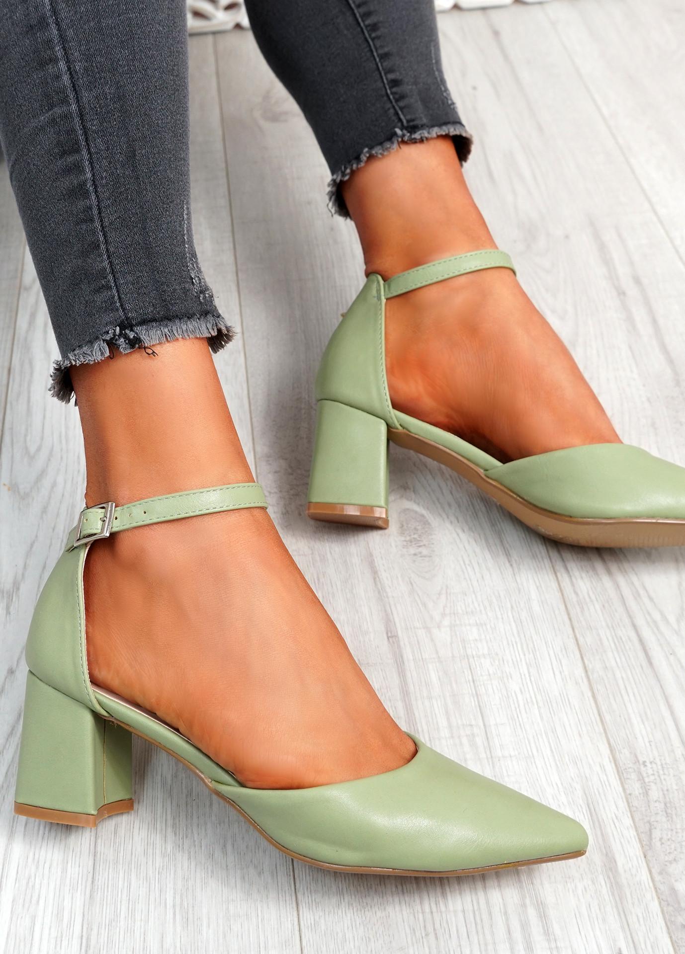 Mya Green Block Heel Ankle Strap Pumps