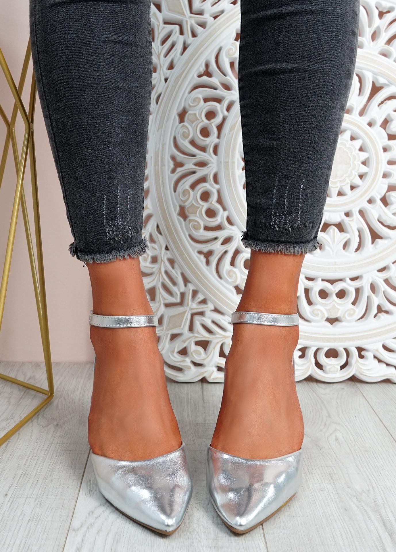 Mya Silver Block Heel Ankle Strap Pumps