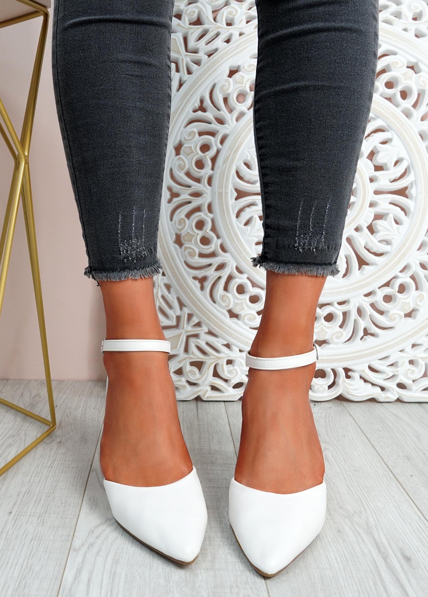 Mya White Block Heel Ankle Strap Pumps