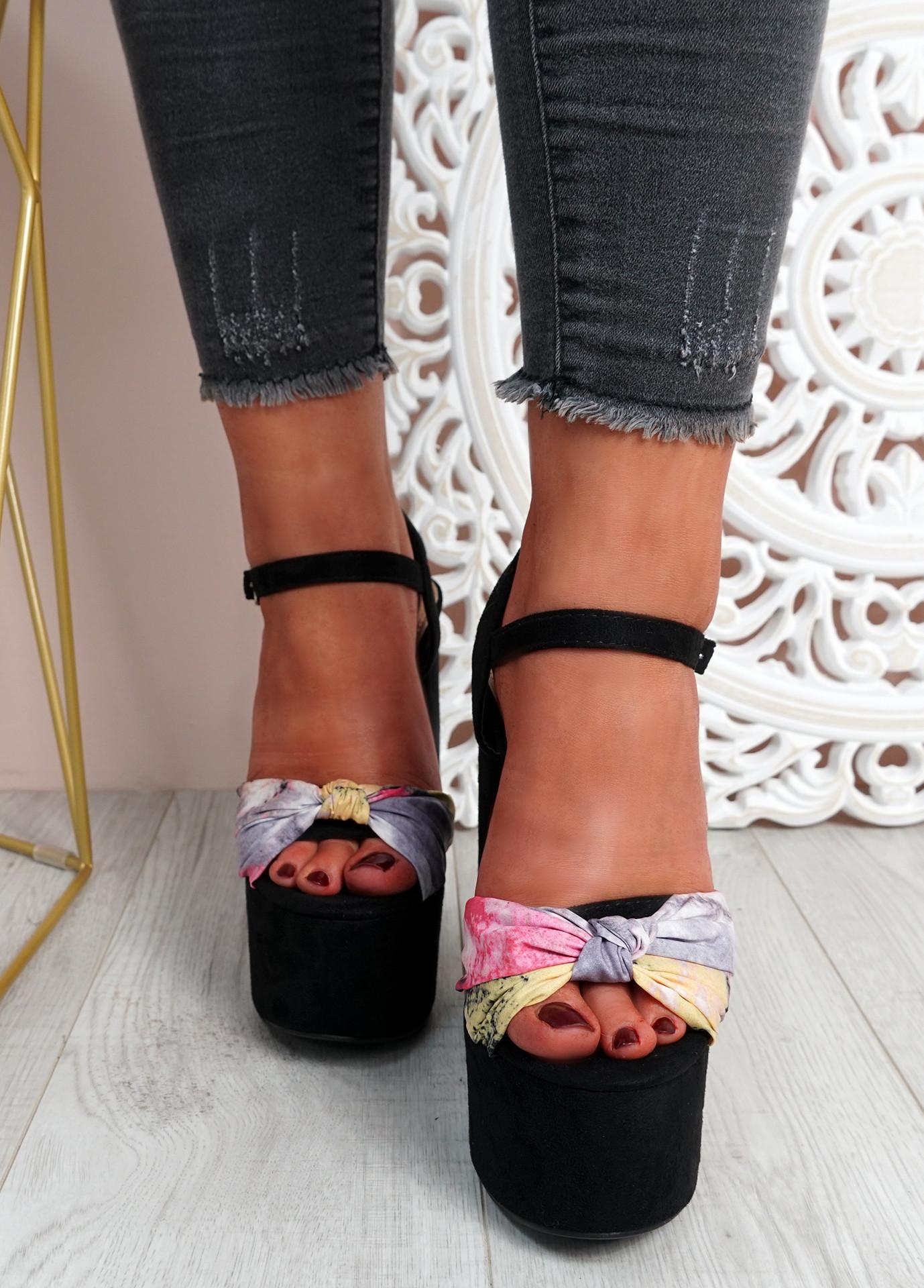 Mette Black High Block Heel Sandals