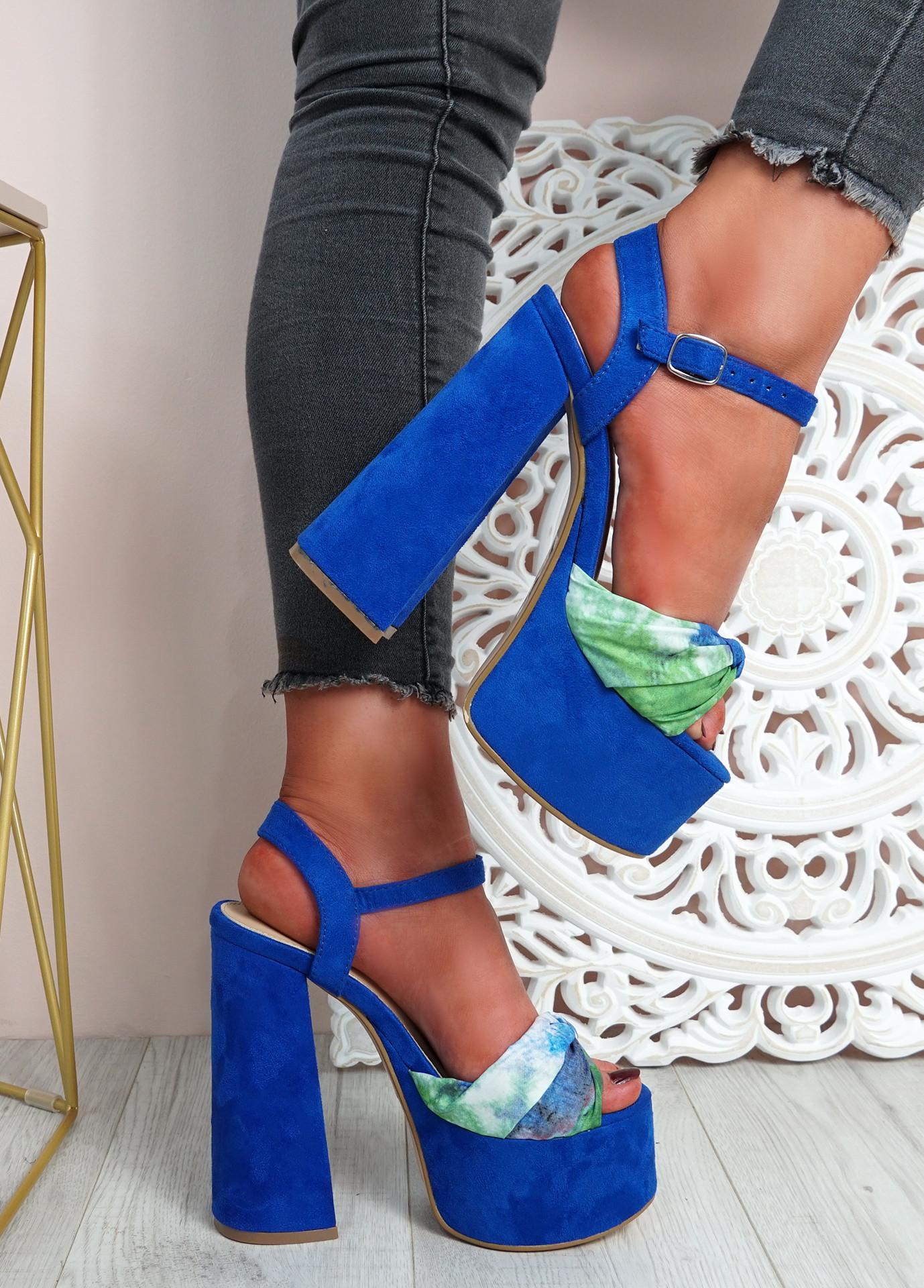 Mette Royal Blue High Block Heel Sandals