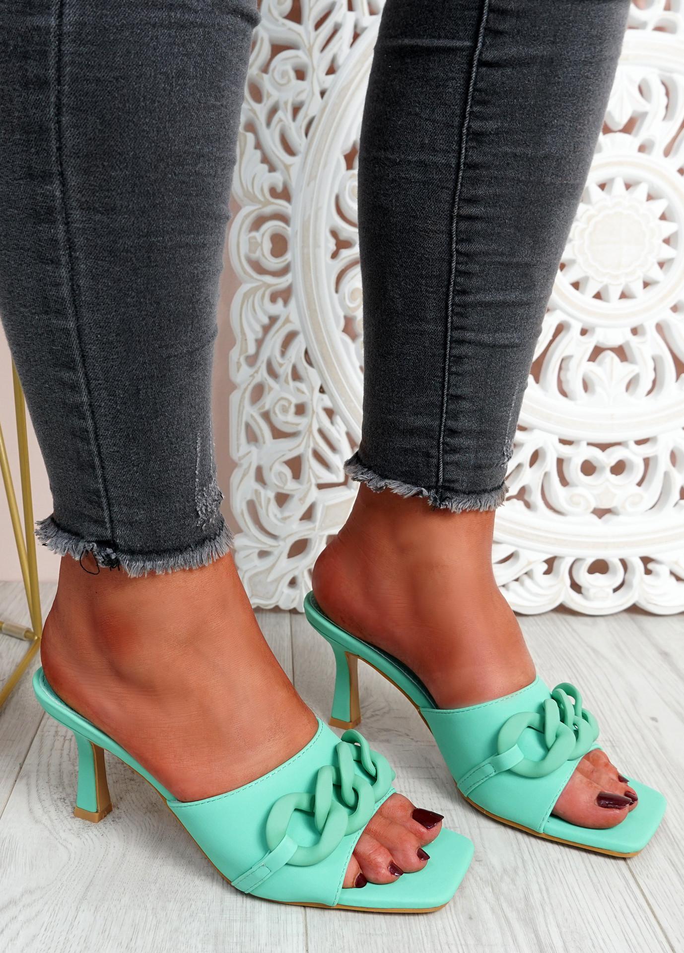 Nory Green Slip On Stiletto Sandals