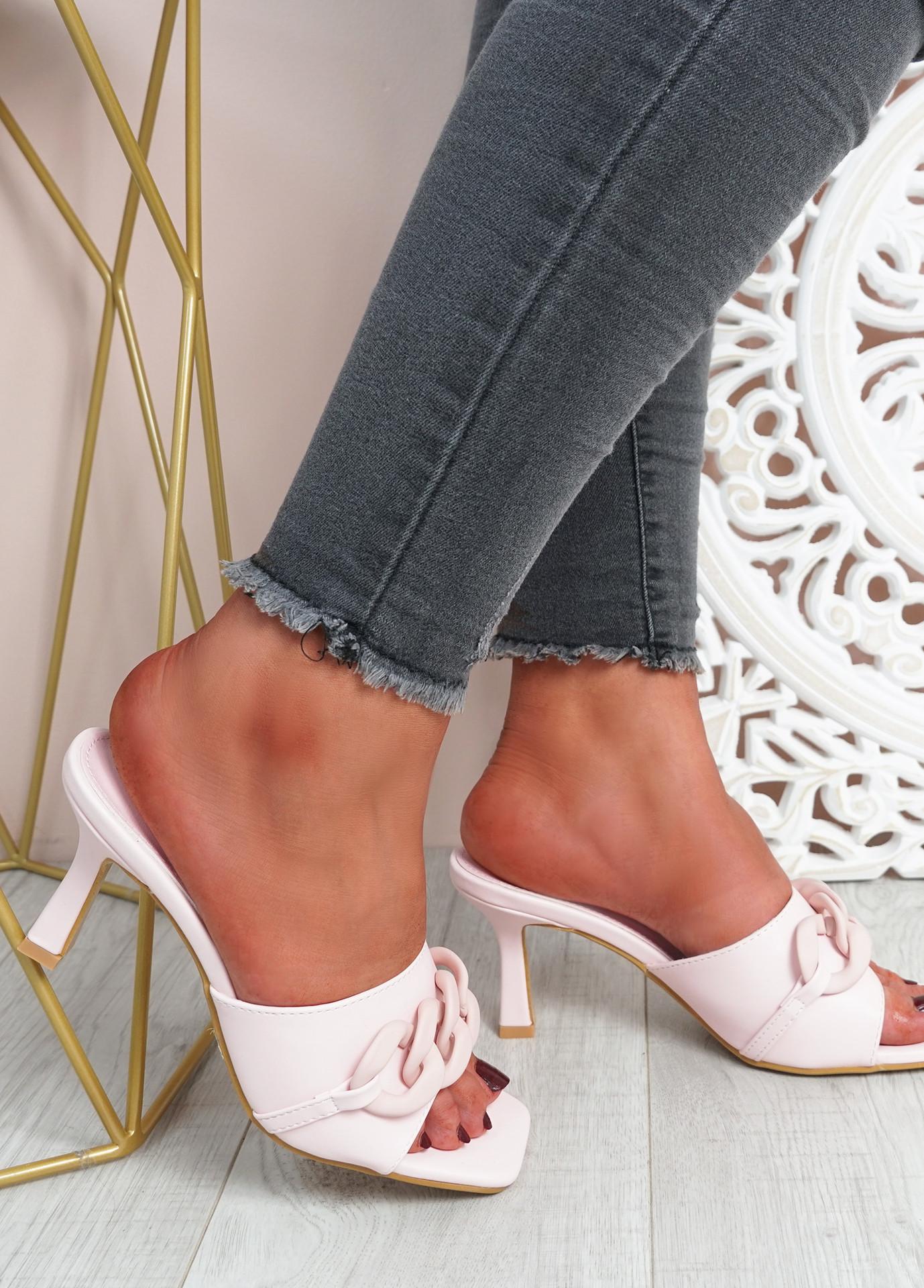 Nory Pink Slip On Stiletto Sandals