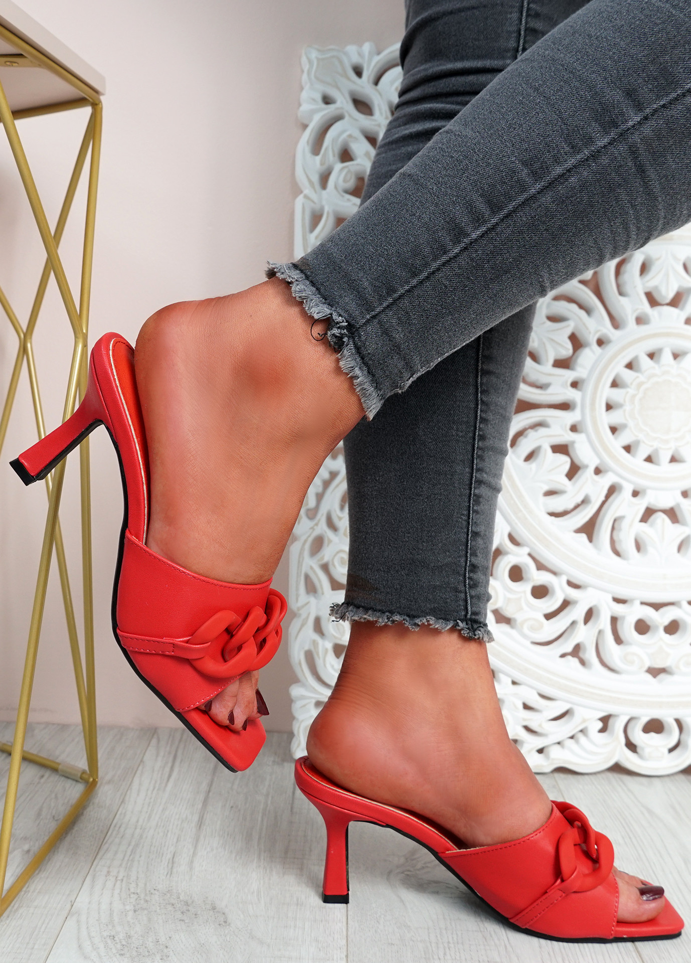 Nory Red Slip On Stiletto Sandals