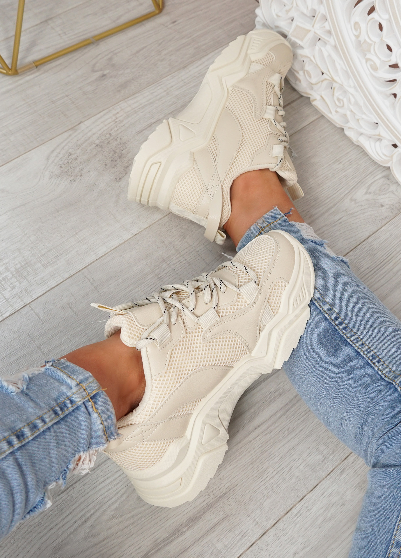 Nozzo Beige Chunky Sneakers