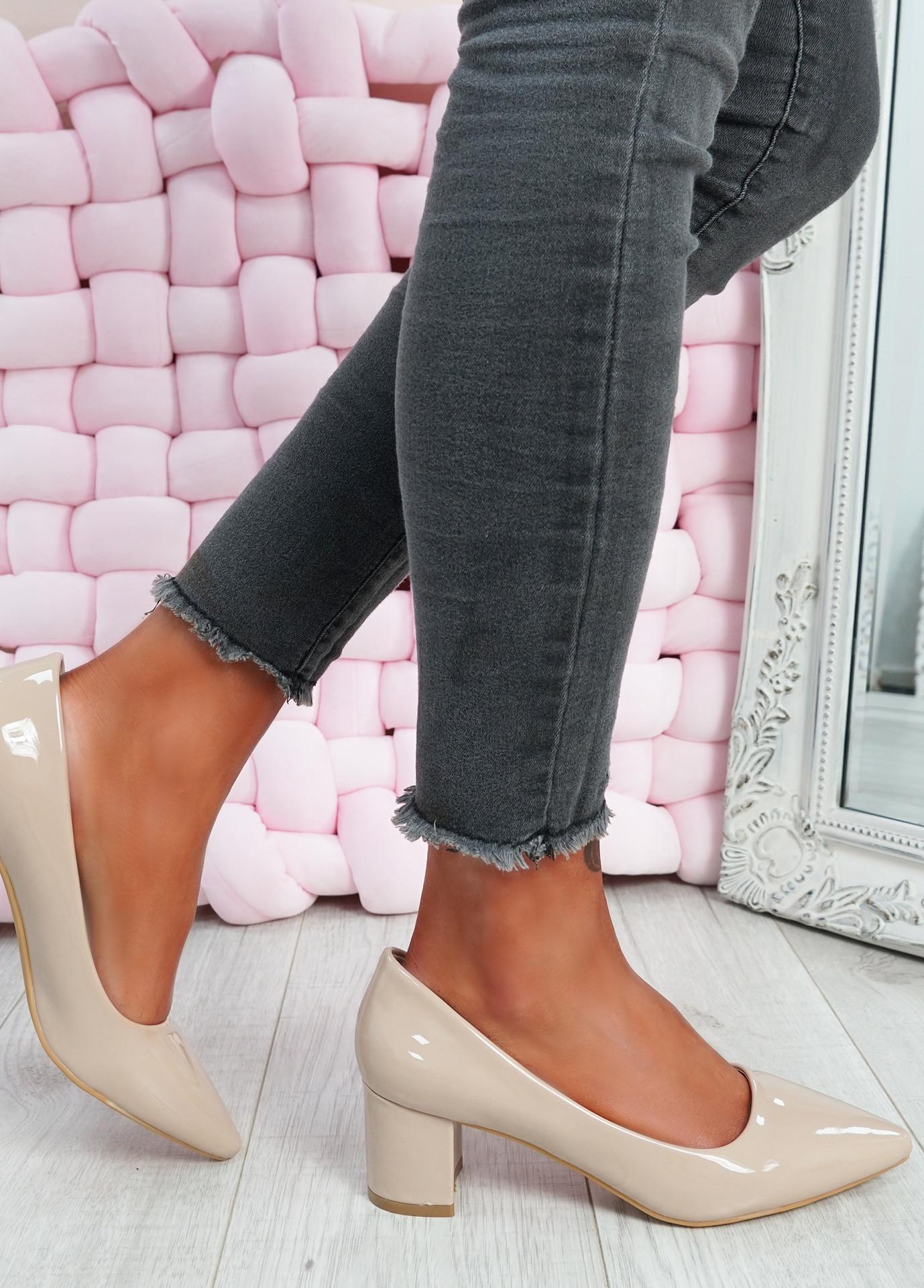 Yasmin Beige Block Heel Pumps