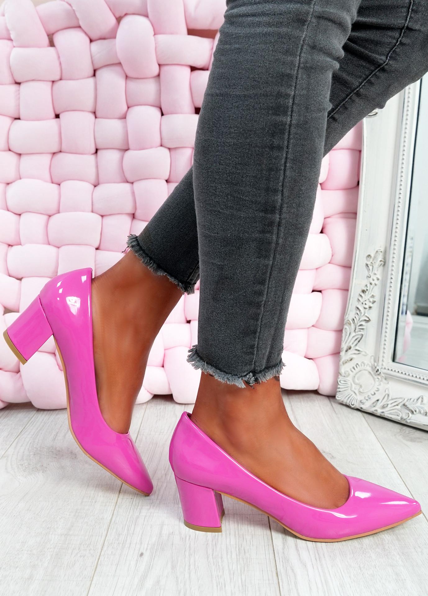 Yasmin Fuchsia Block Heel Pumps