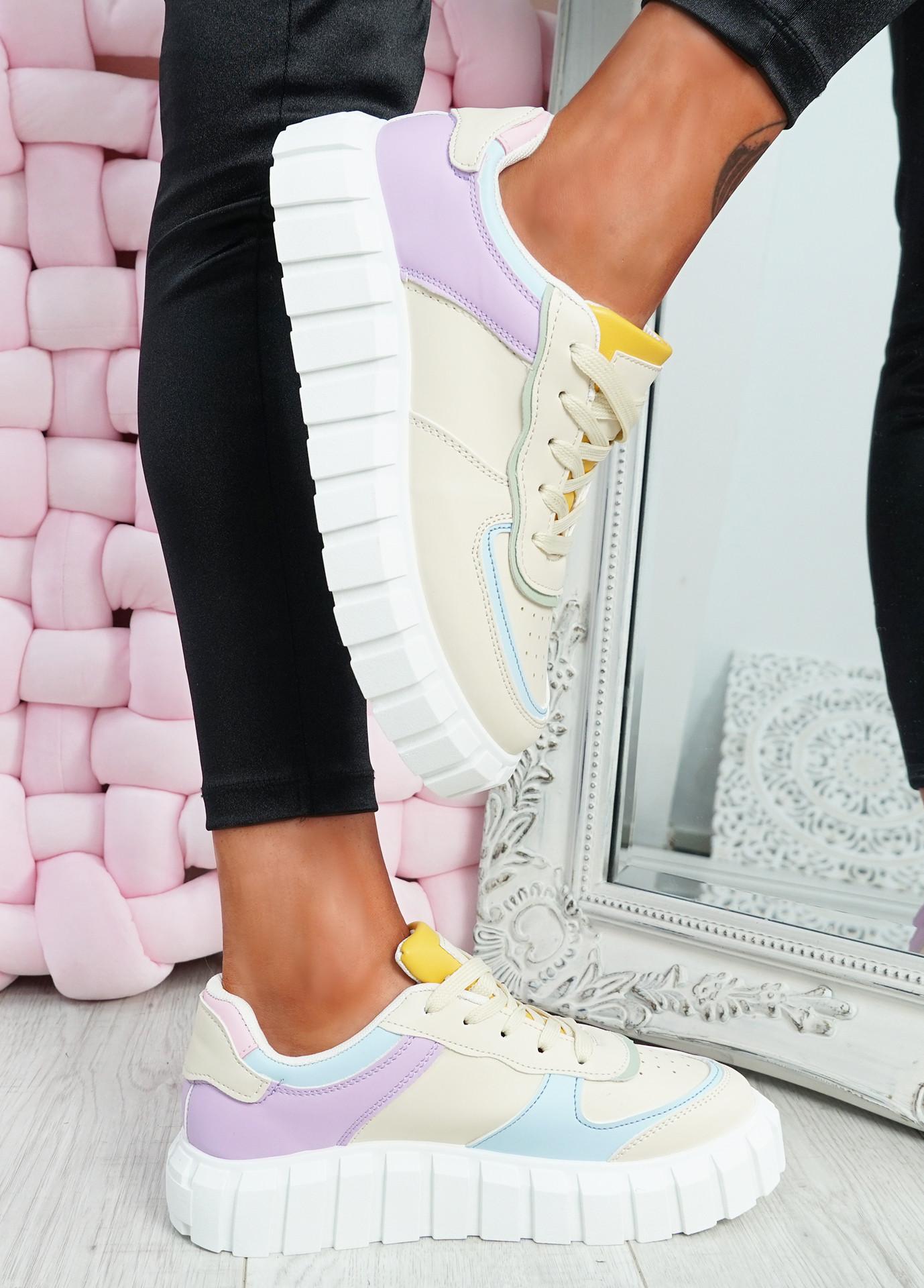 Maisy Beige Platform Lace Up Trainers