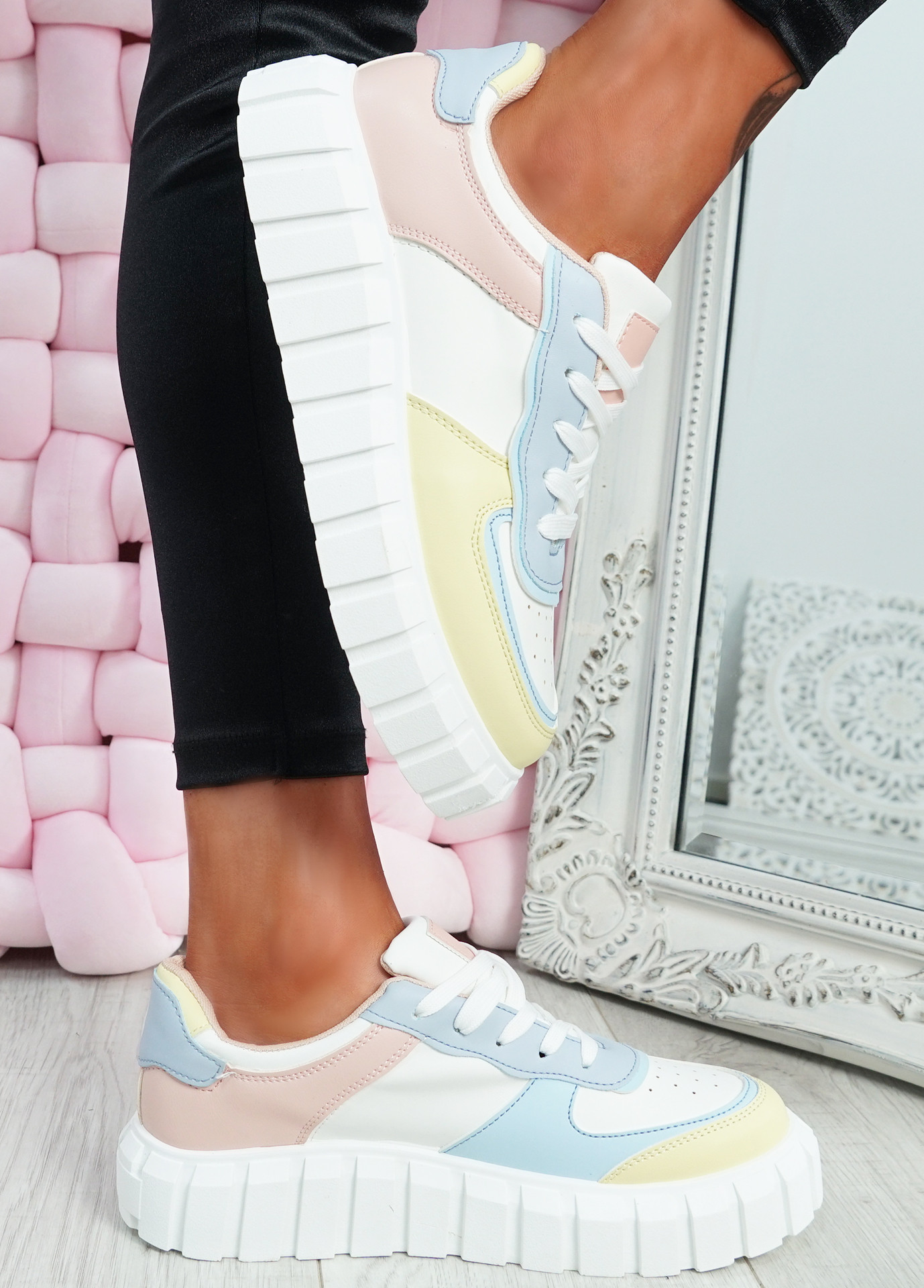 Maisy Pink Platform Lace Up Trainers