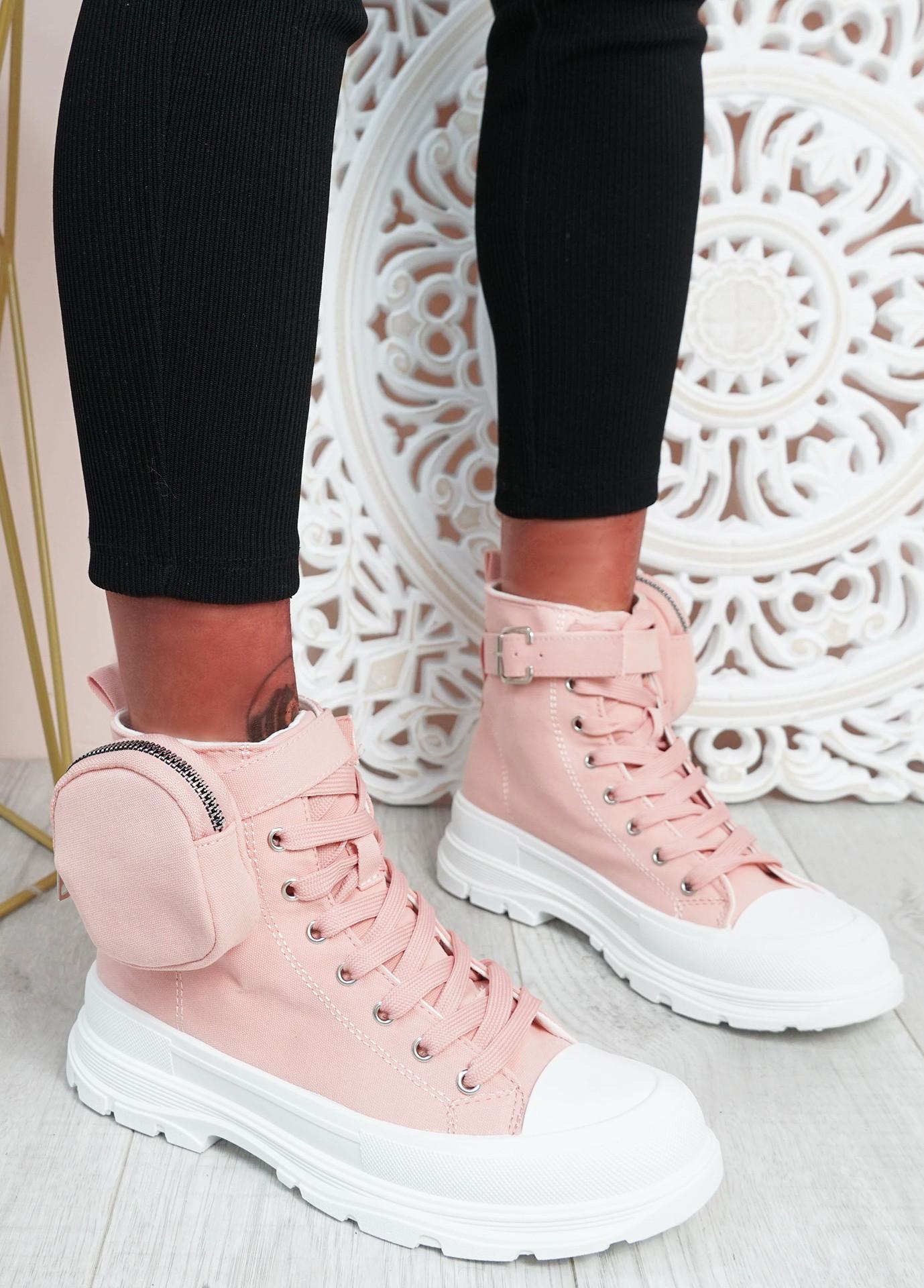 Flora Pink Side Pocket Trainers