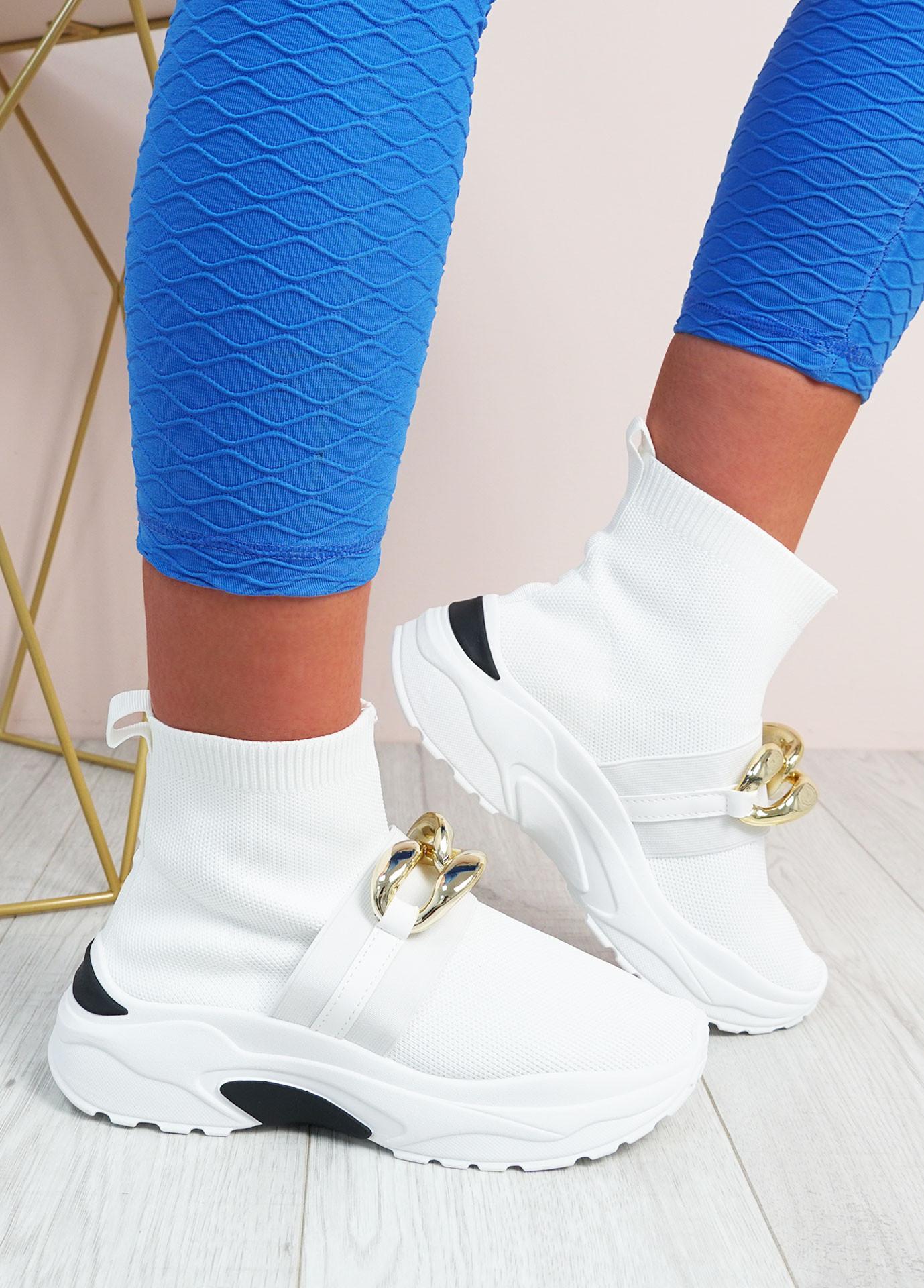Aysha White Sock Chunky Trainers