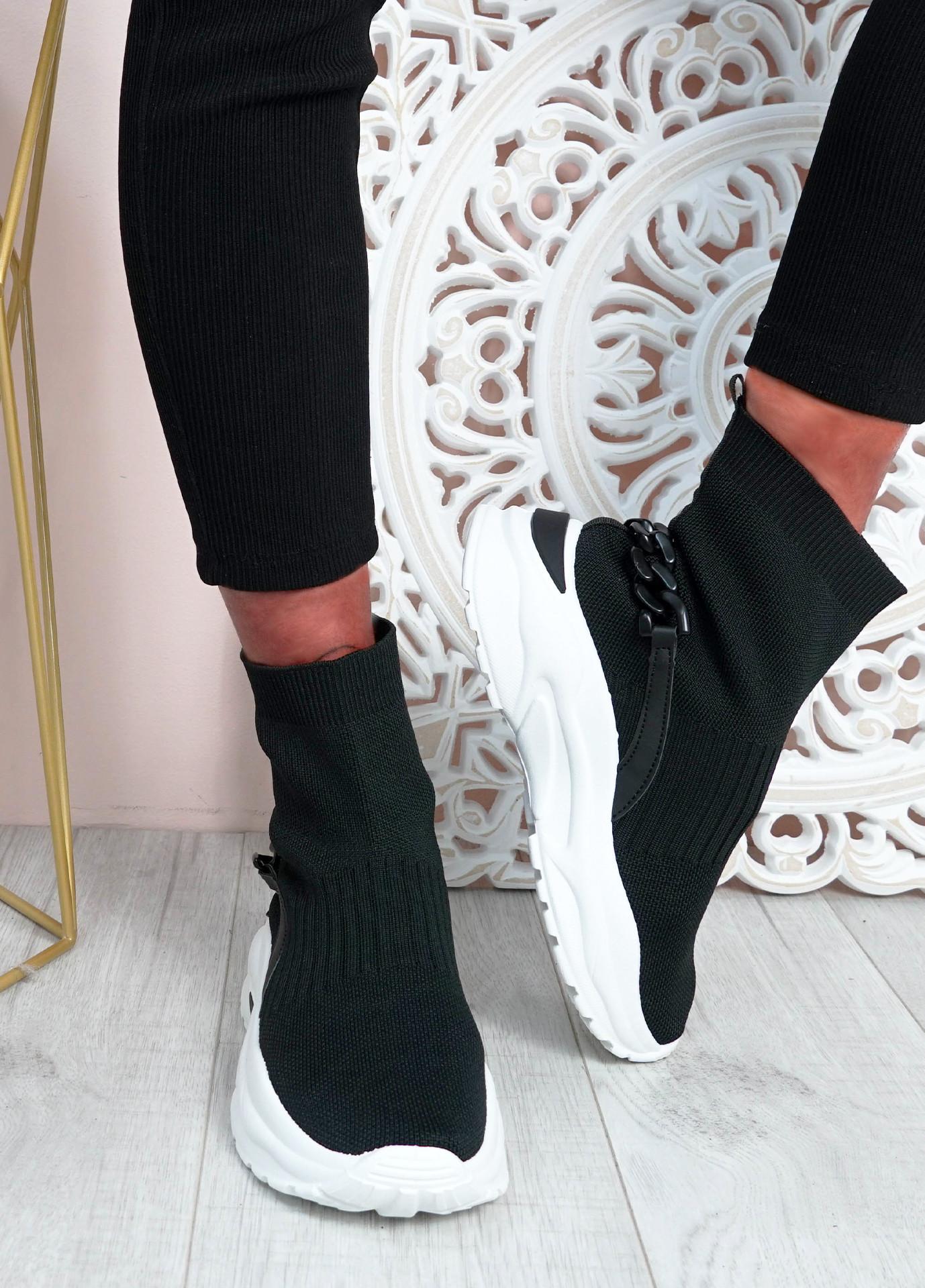 Syeda Black Sock Sneakers