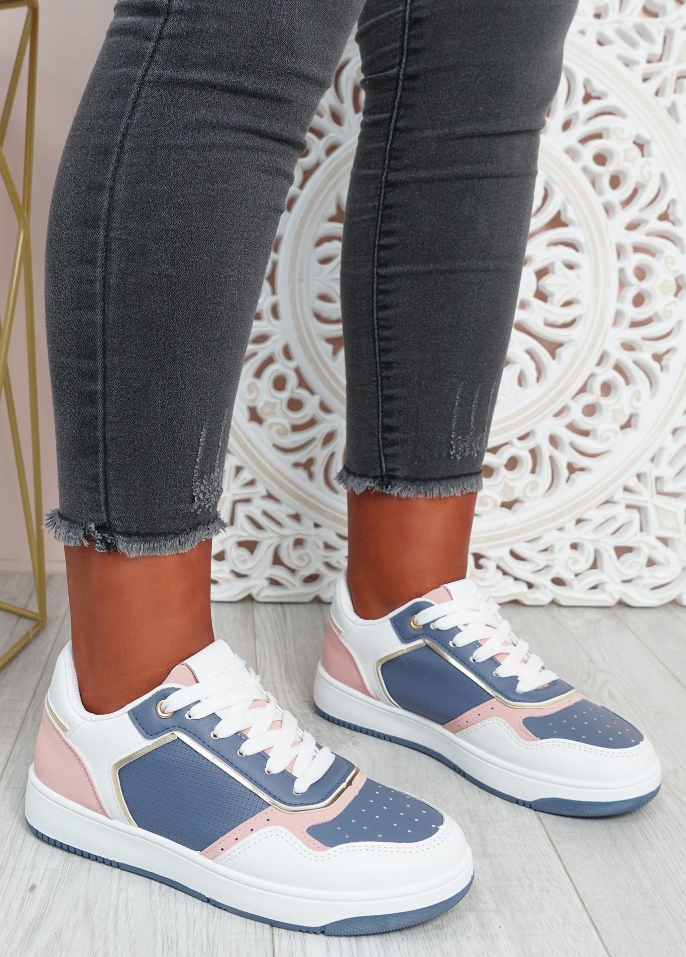 Saskia White Blue Sport Sneakers
