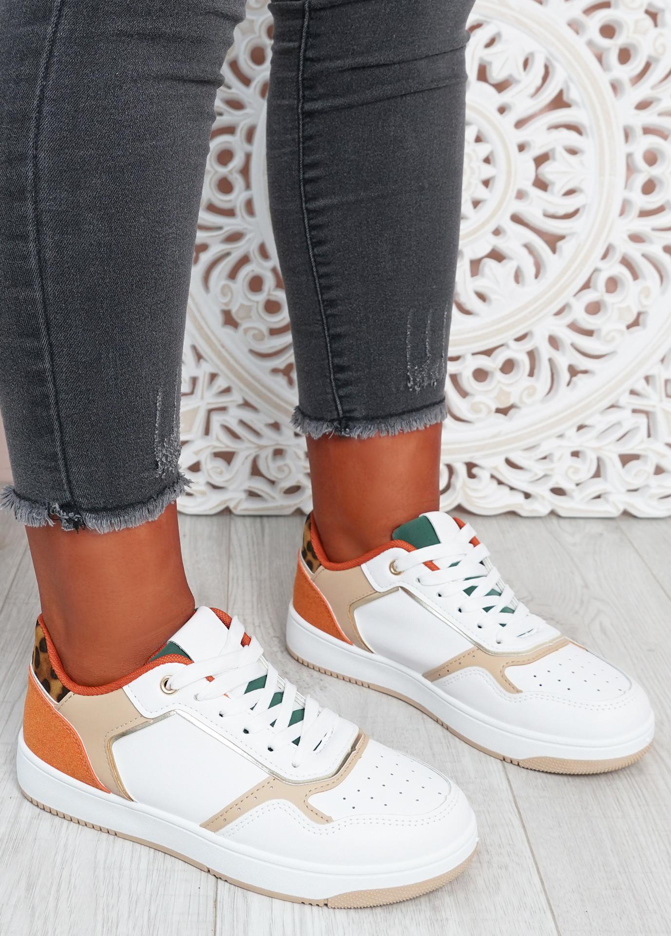 Saskia White Leopard Sport Sneakers