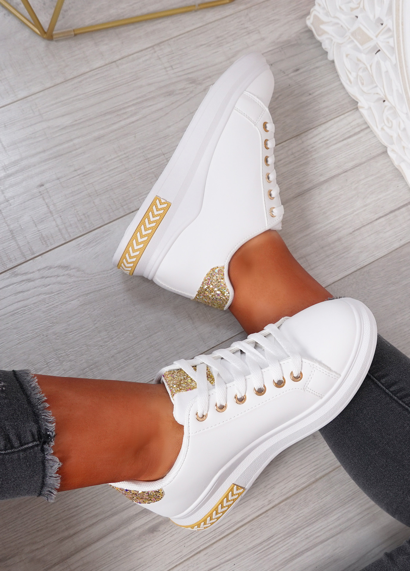 Mollie Gold Wedge Glitter Sneakers