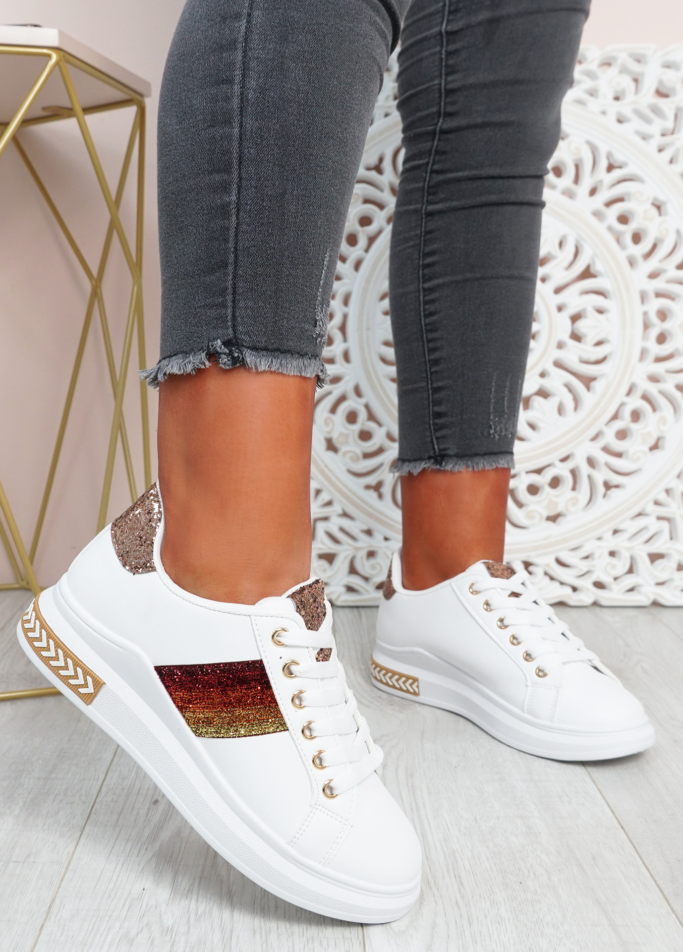 Mollie Champagne Glitter Sneakers