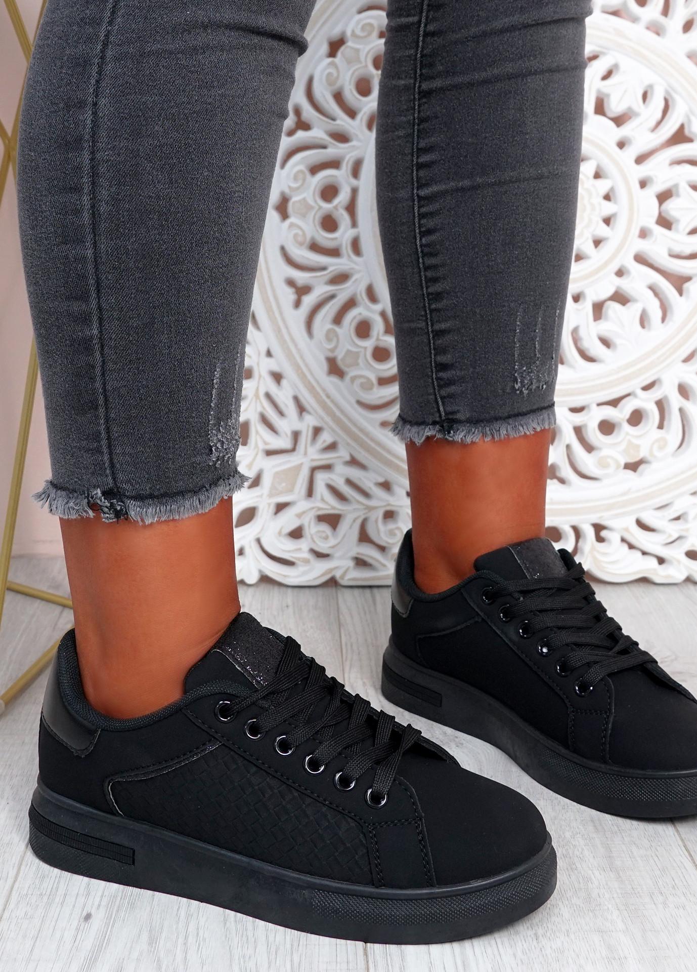Melanie All Black Platform Sneakers