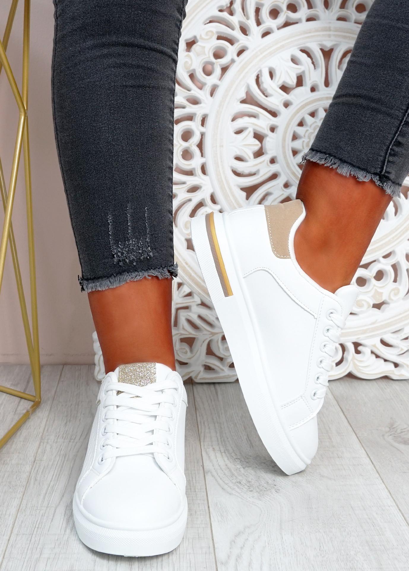 Melanie White Beige Platform Sneakers