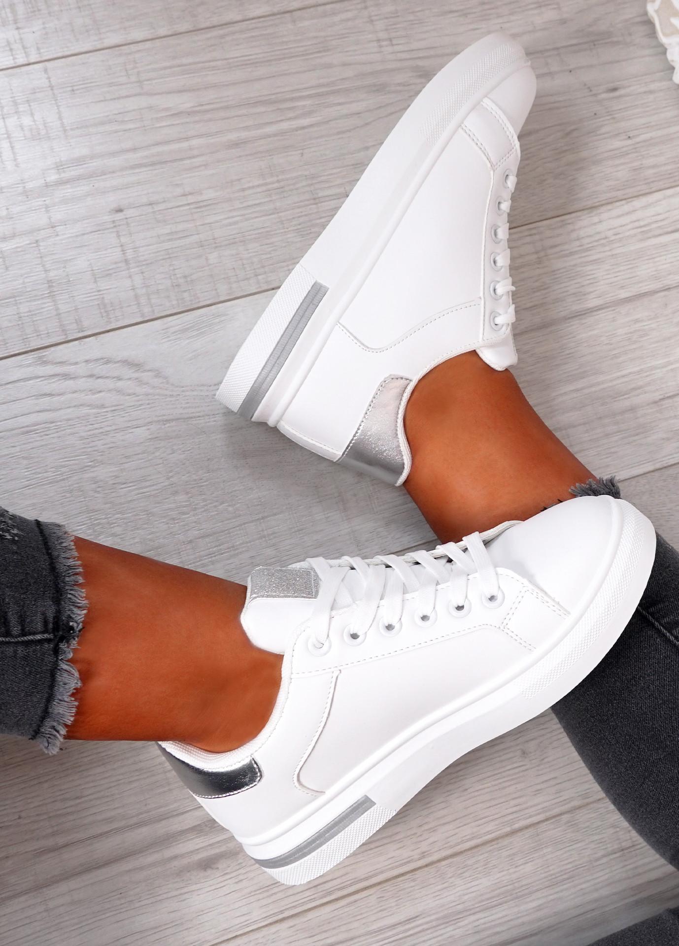 Melanie White Silver Platform Sneakers