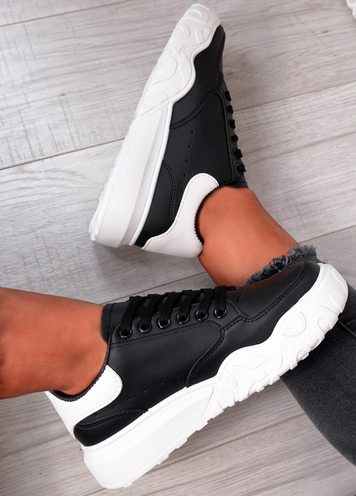 Alannah Black White Flatform Sneakers