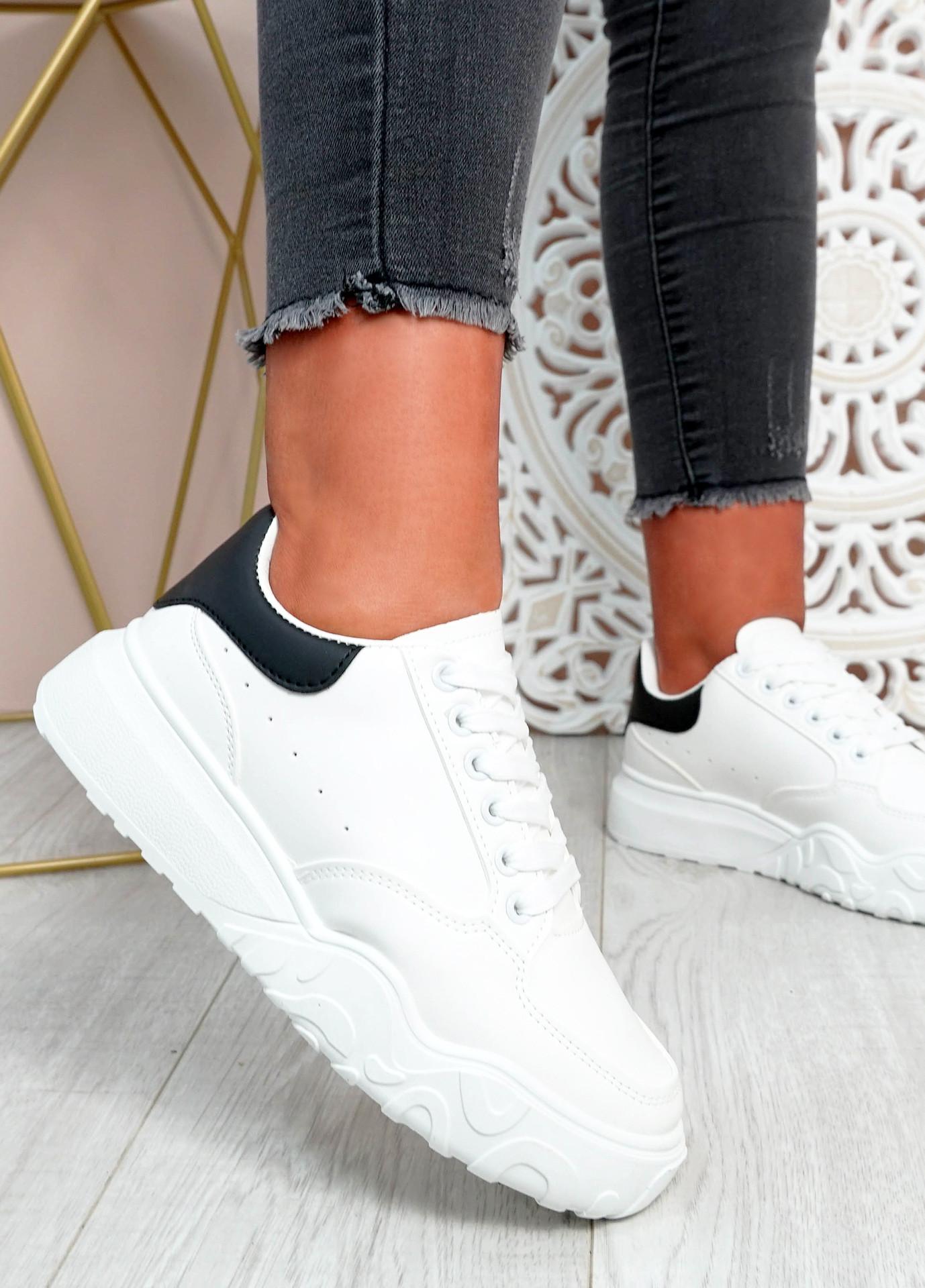 Alannah White Black Flatform Sneakers