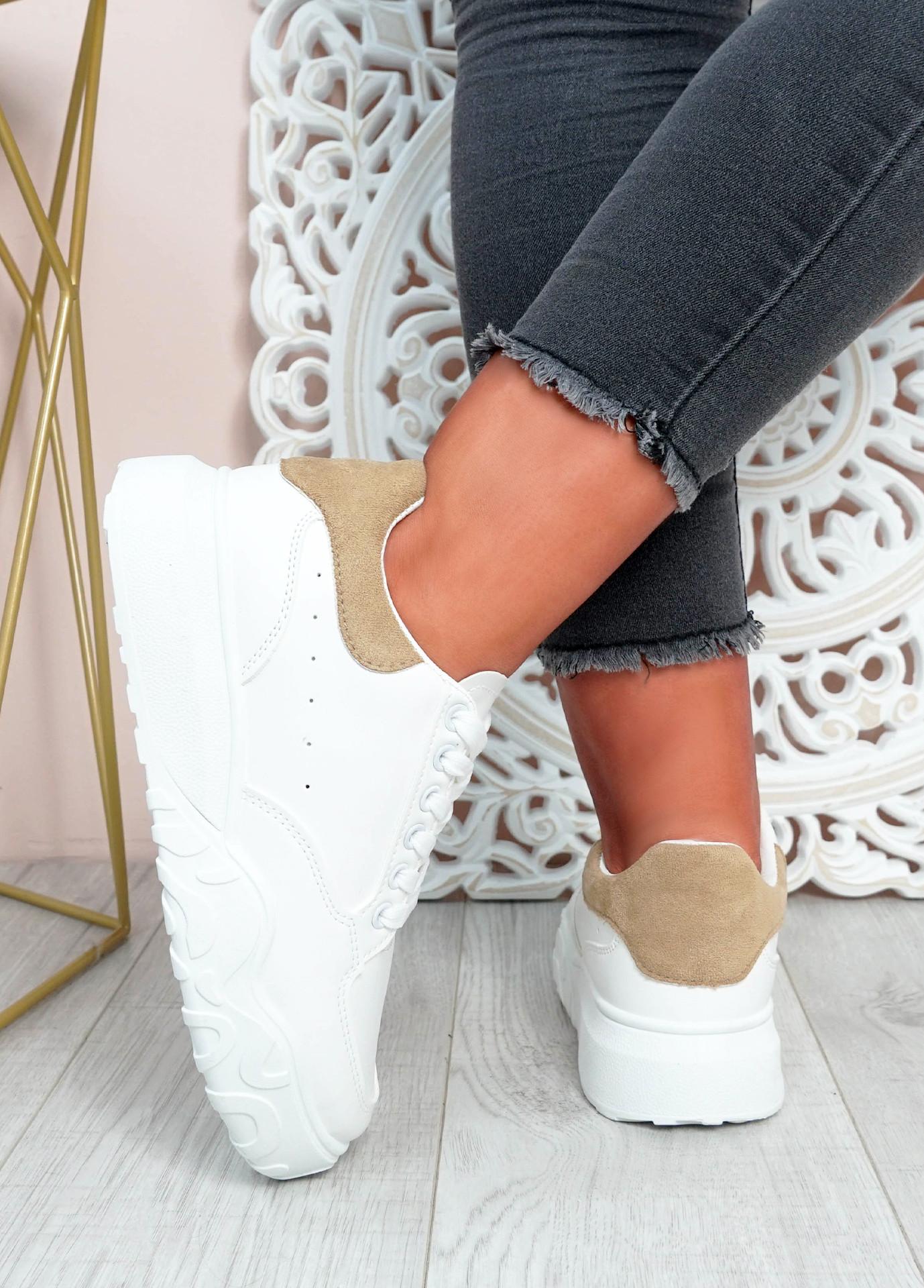 Alannah White Khaki Flatform Sneakers