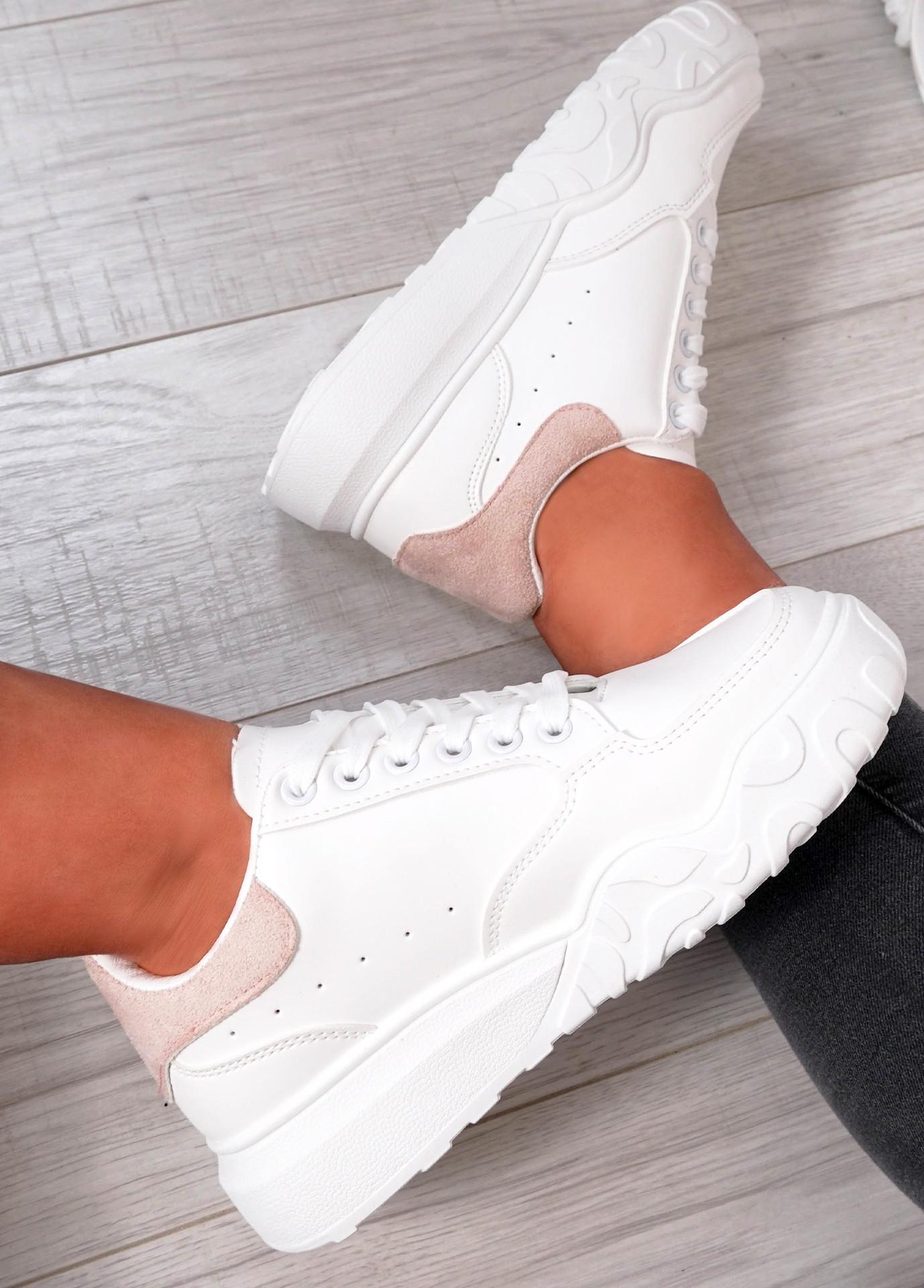 Alannah White Pink Flatform Sneakers