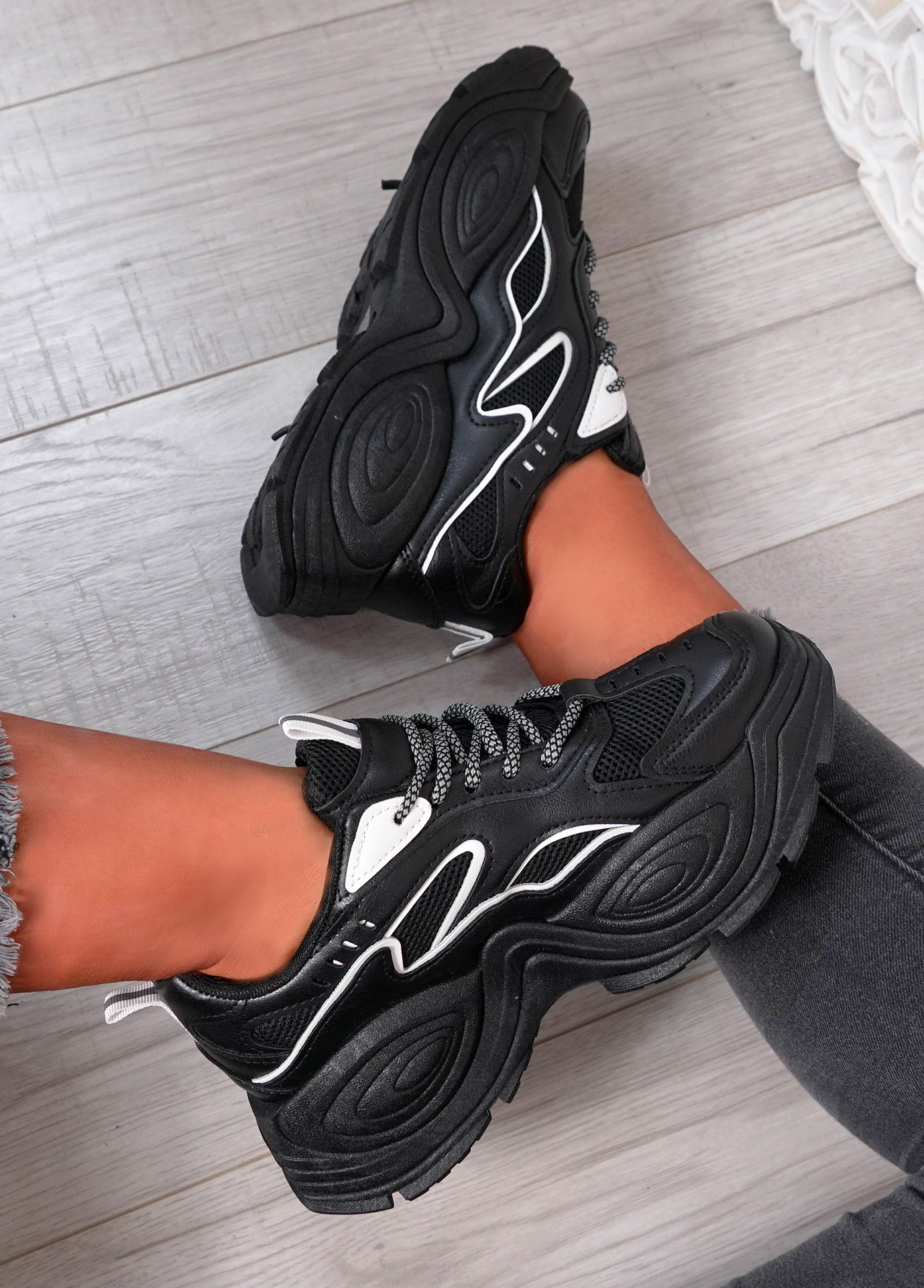 Fern Black Chunky Sneakers