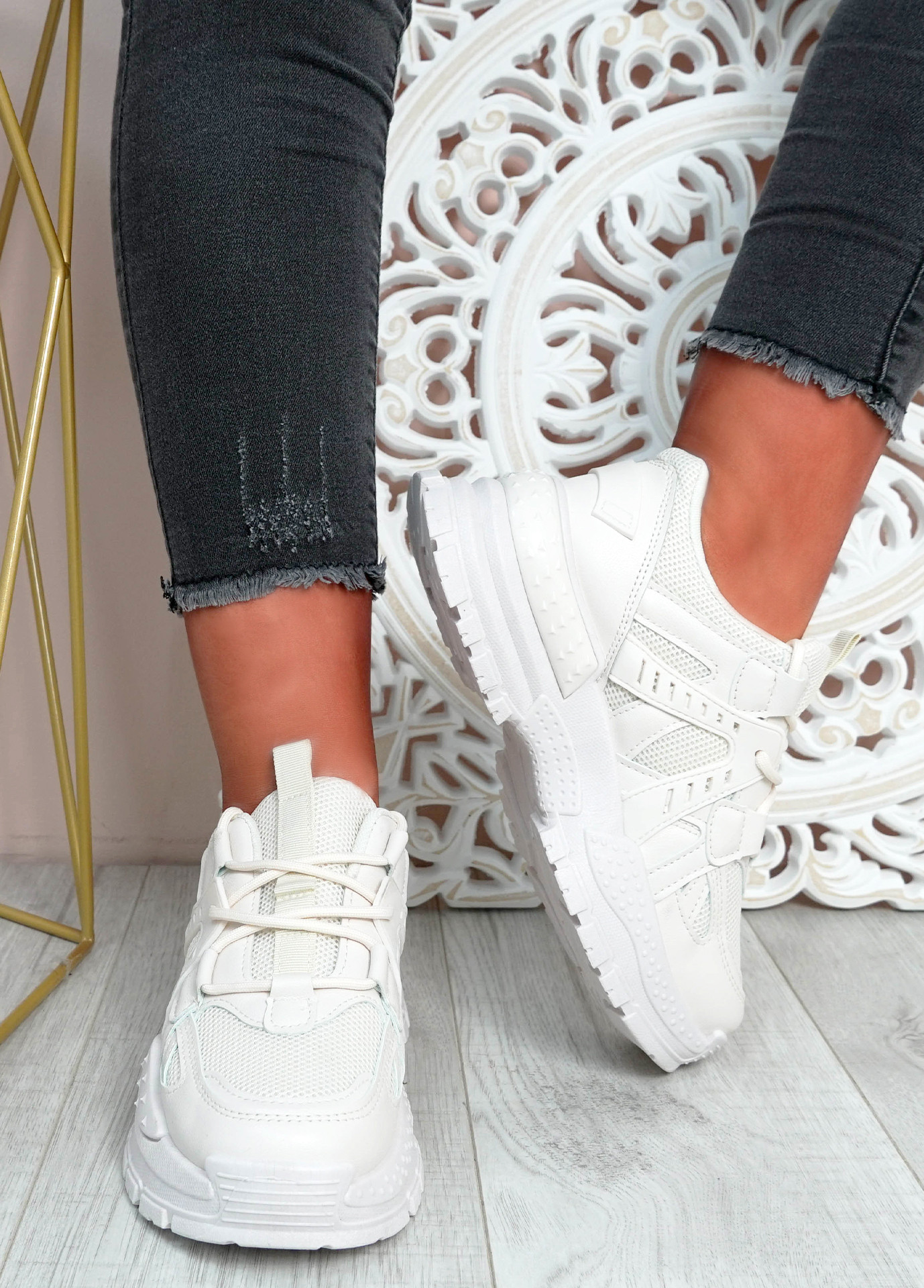 Mary Beige Chunky Sneakers