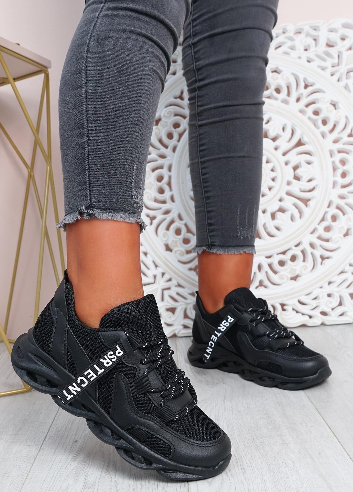 Tia Black Chunky Sport Sneakers