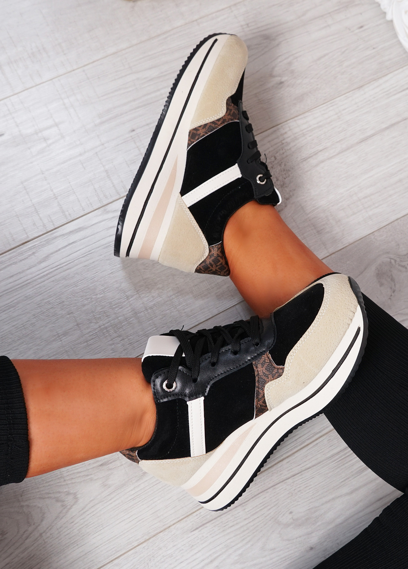 Daisy Black Wedge Trainers