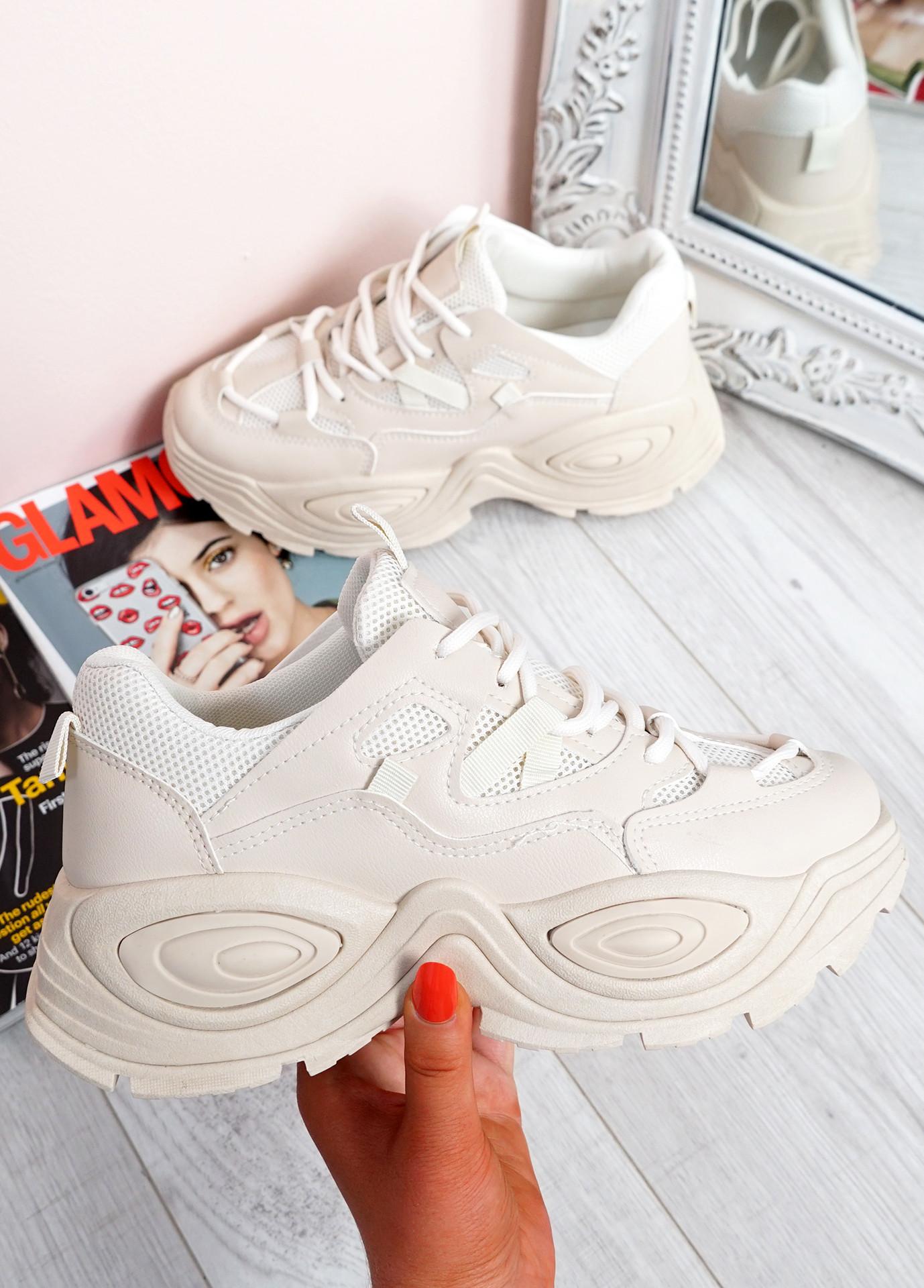 Salma Beige Chunky Sneakers