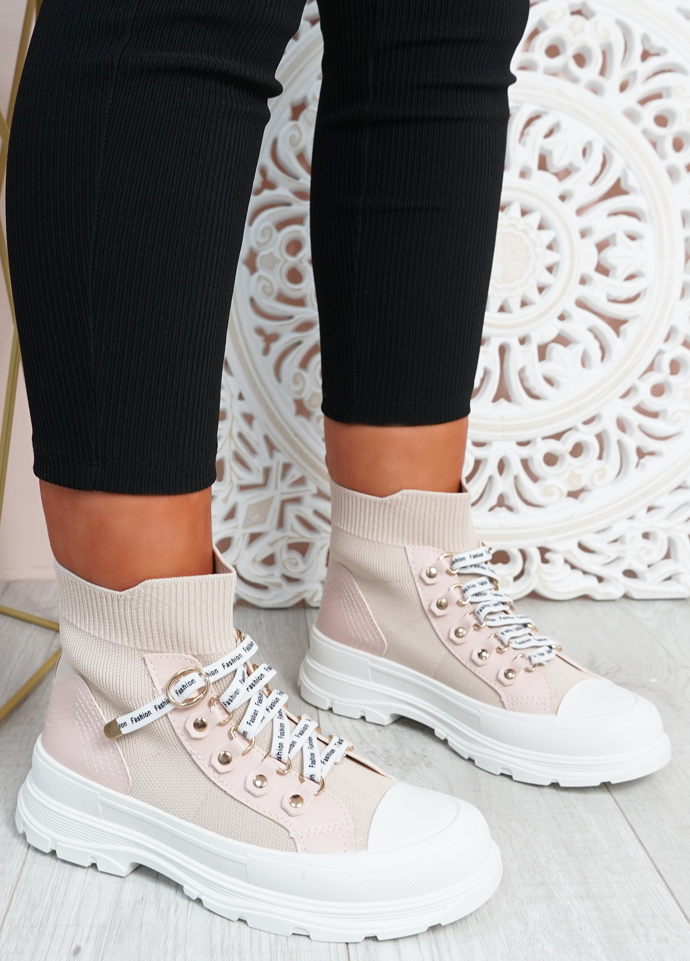 Delilah Pink Slip On Knit Trainers