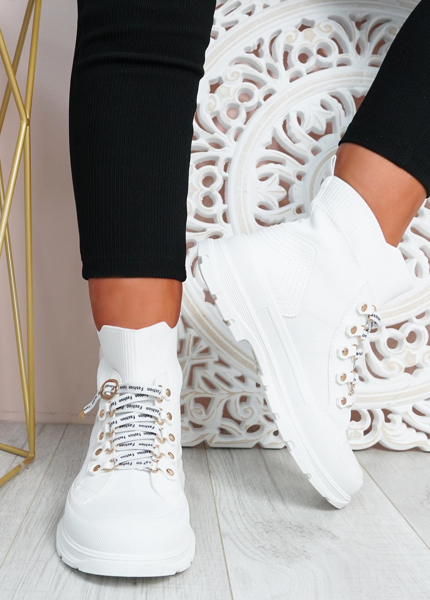 Delilah White Slip On Knit Trainers